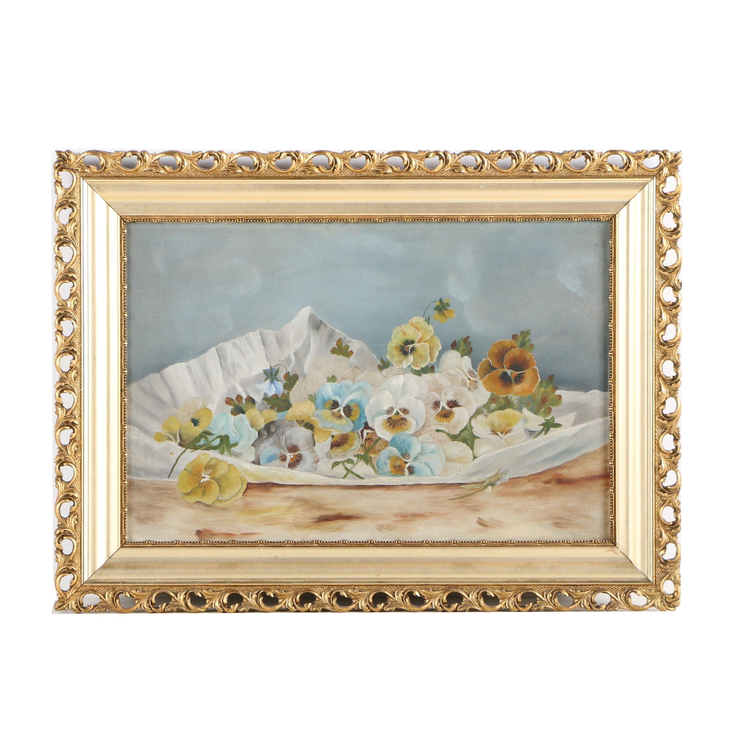 Oil Painting of Pansies