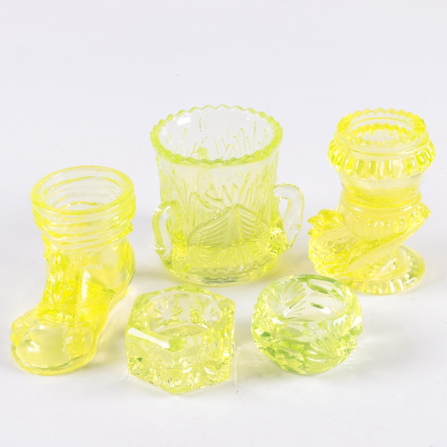 84422a8969ac3 Vintage Yellow Vaseline Glass Tableware Including Westmoreland