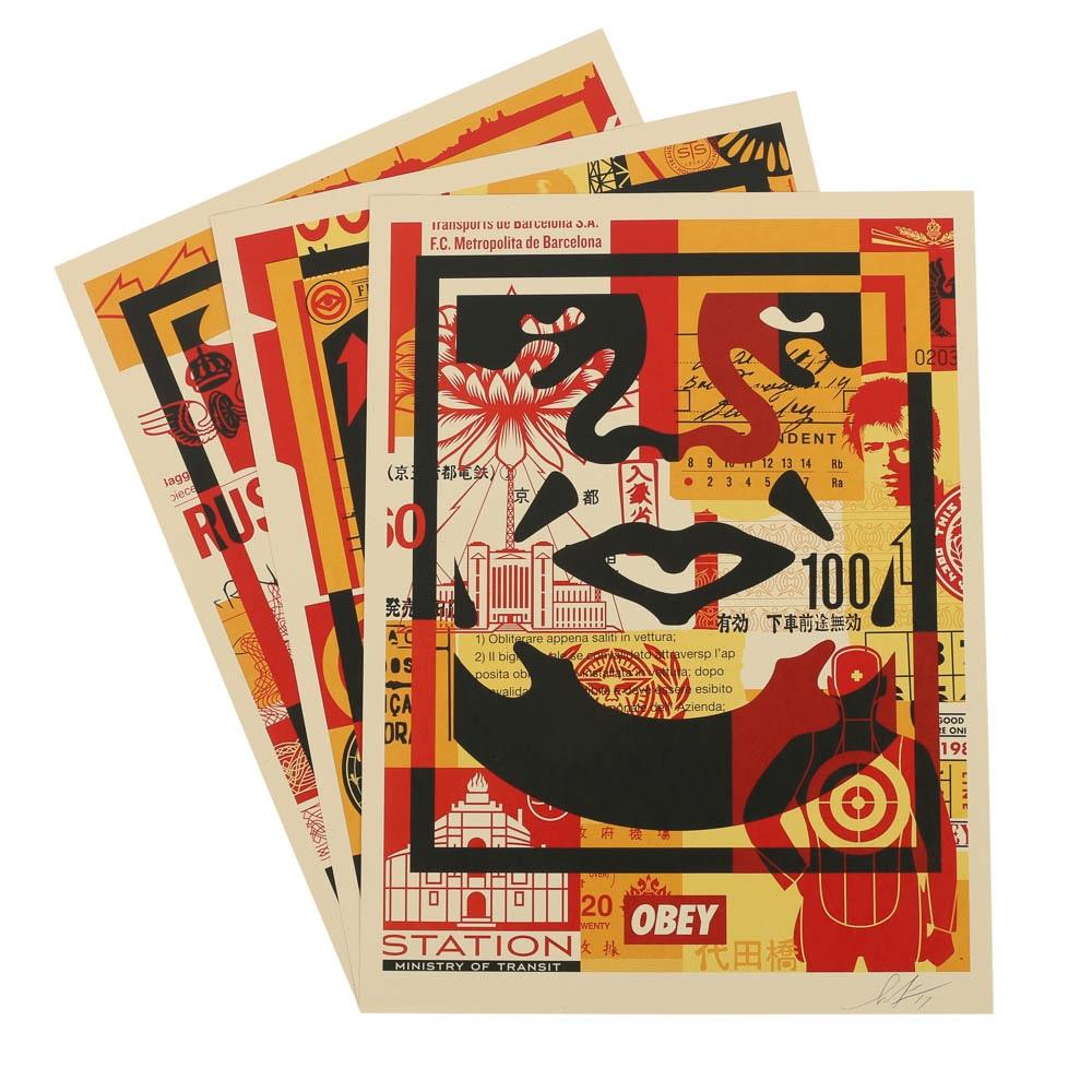 "Shepard Fairey Offset Prints ""Obey 3 Face Collage"""