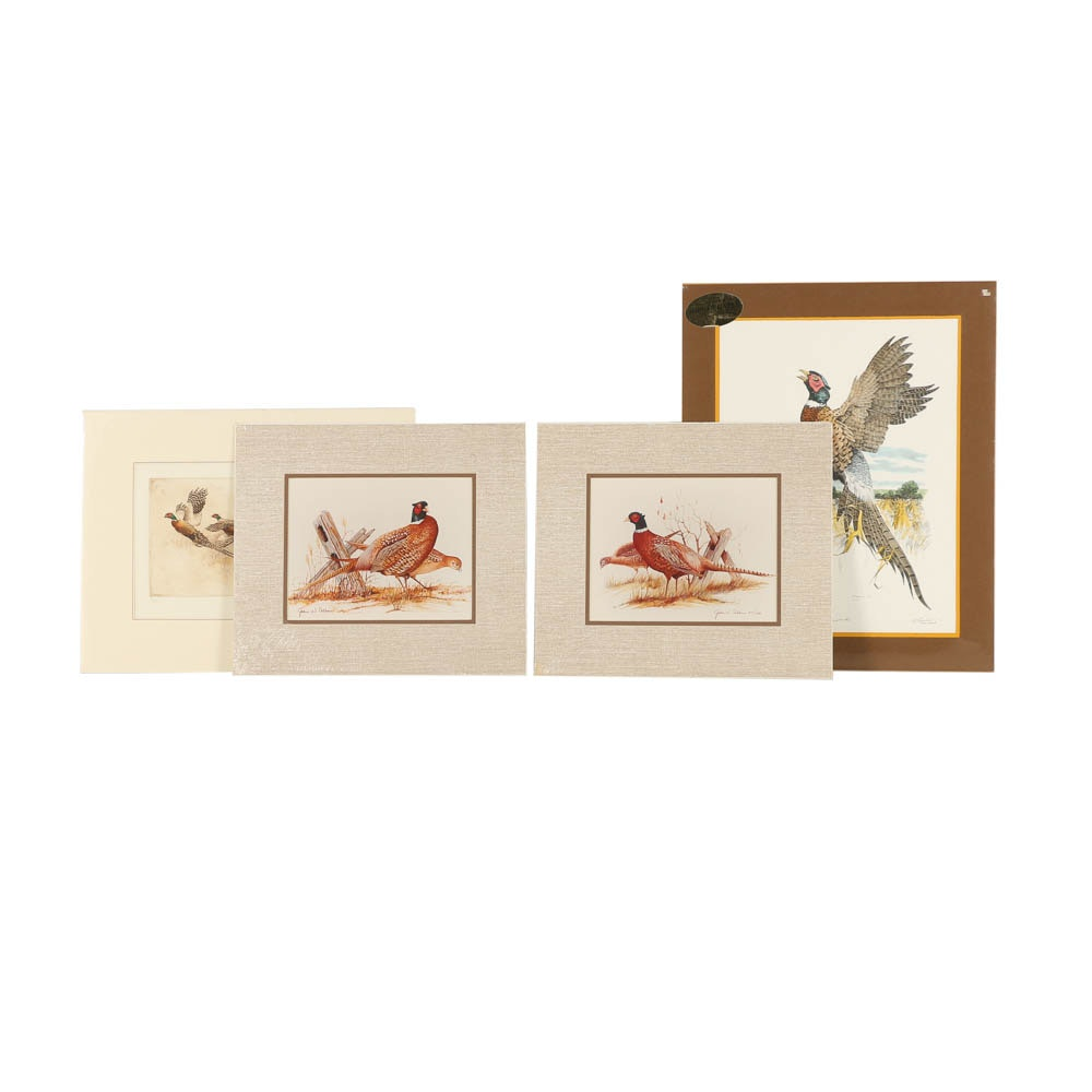 """Four Prints Including """"Ringneck"""" and """"Ring-Necked Pheasants"""""""