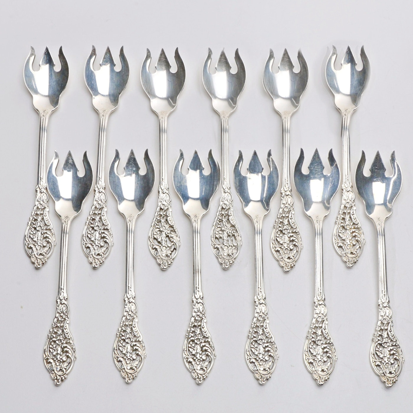 "Set of Twelve ""Florentine Lace"" Sterling Silver Ice Cream Forks"