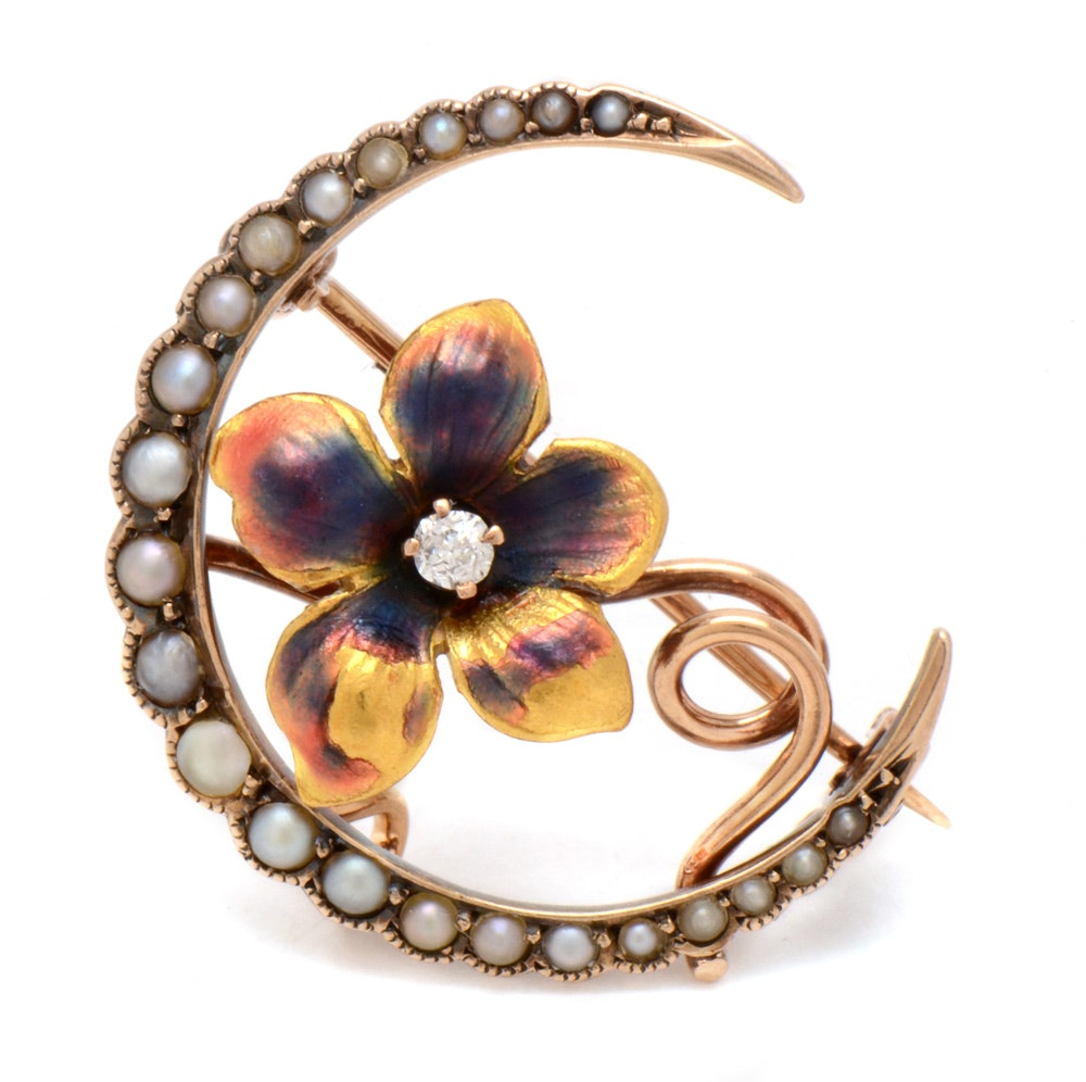 Early 20th Century 14K Gold Diamond and Seed Pearl Enameled Watch Brooch