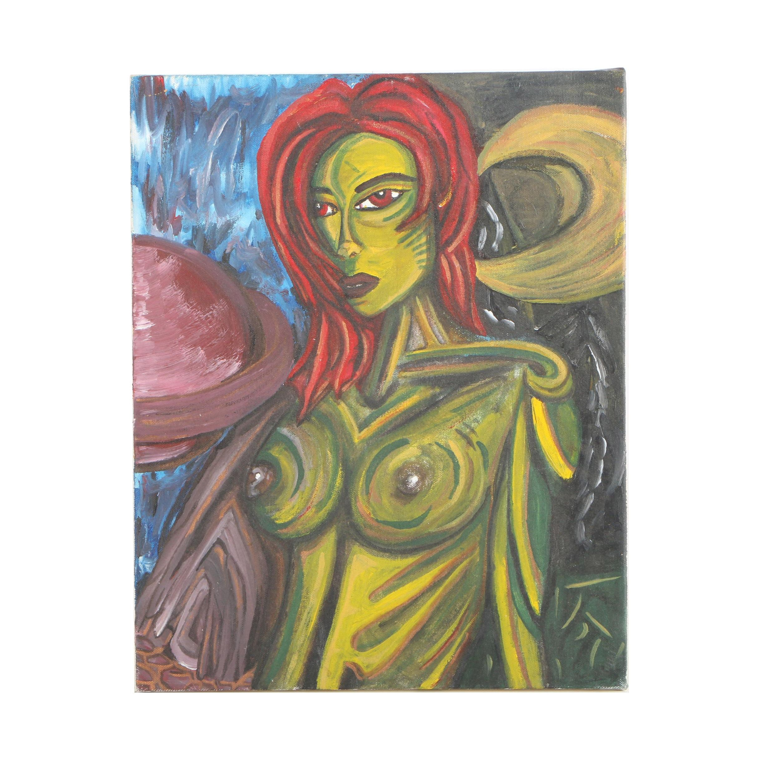 Oil Painting of an Alien Woman