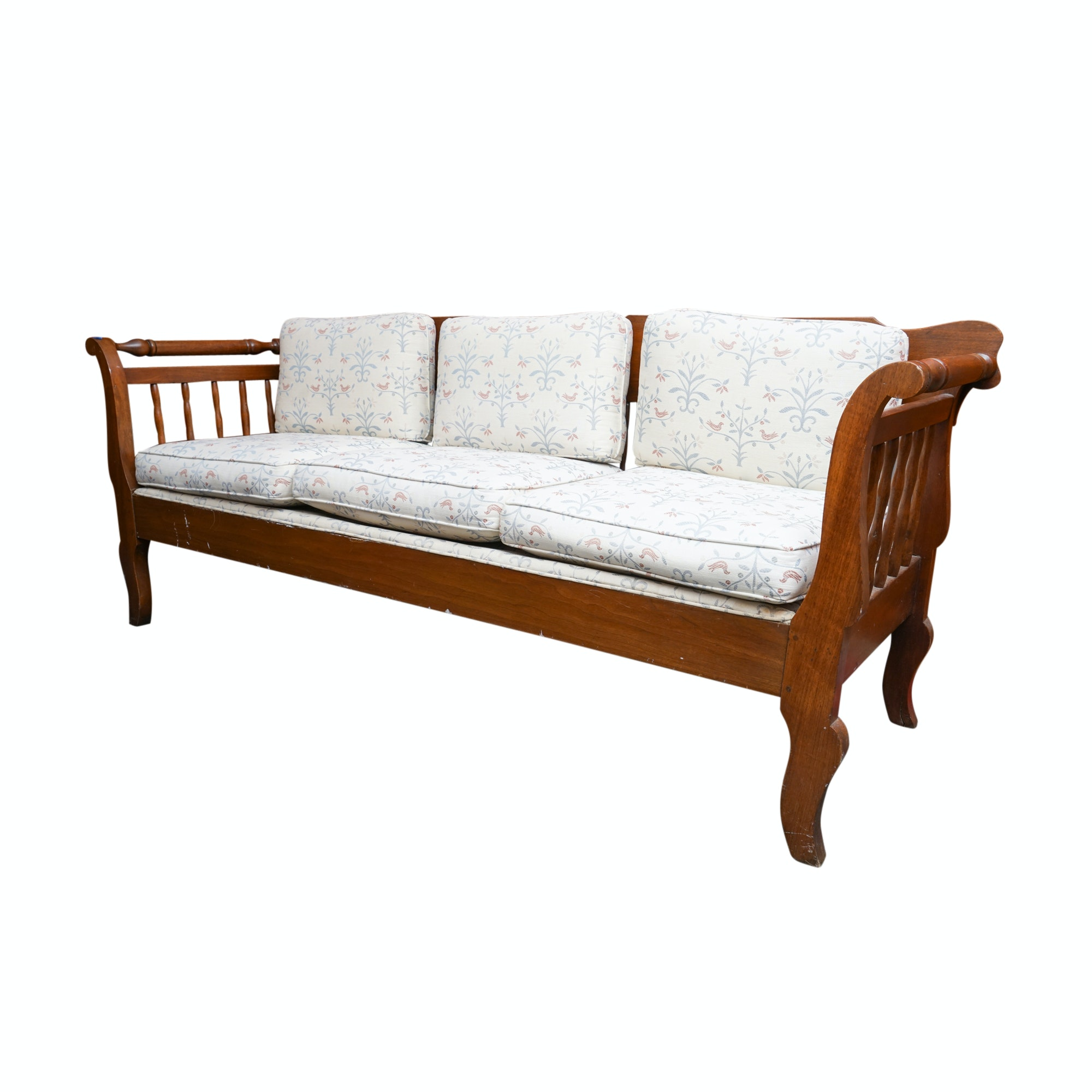 Vintage Wood Daybed with Cushions