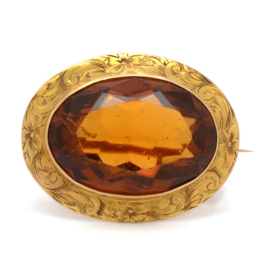 Antique 10K Yellow Gold Brooch with Faceted Glass Stone