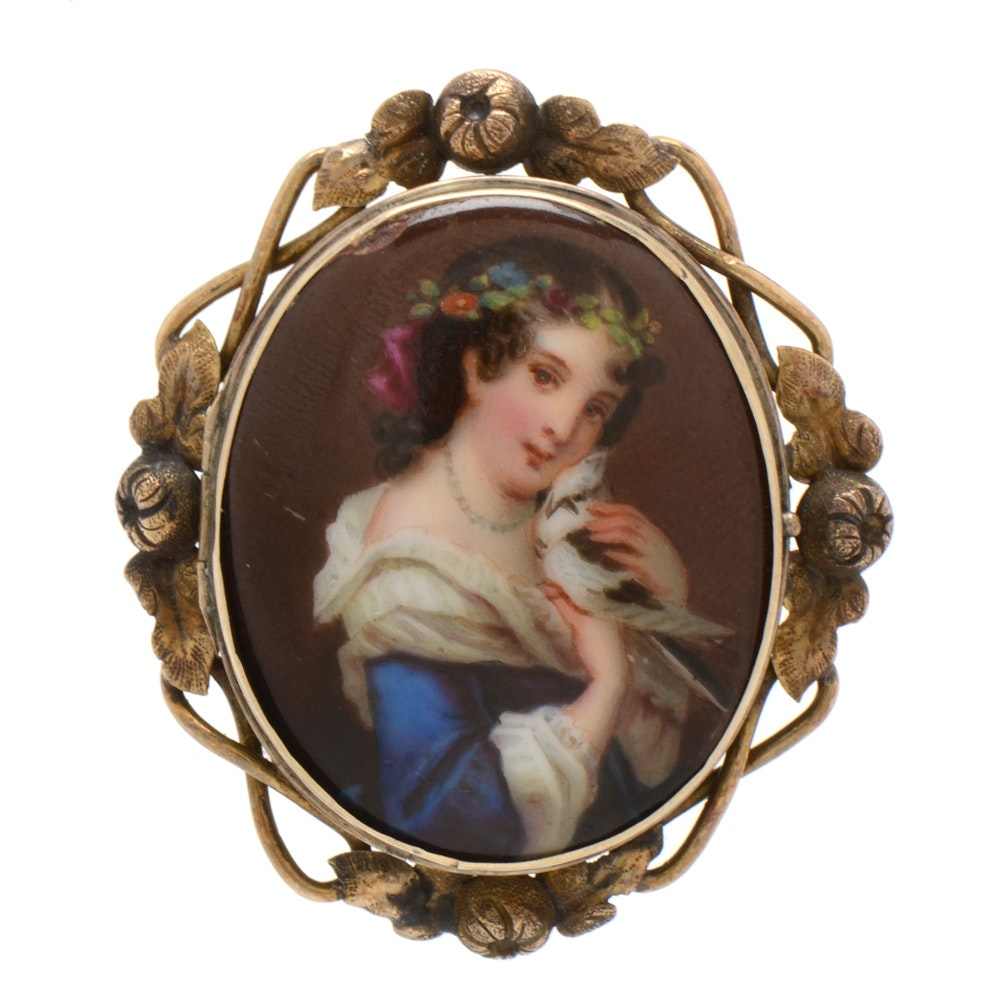 Antique Hand Painted Porcelain Brooch in Gold Tone Fancy Mount