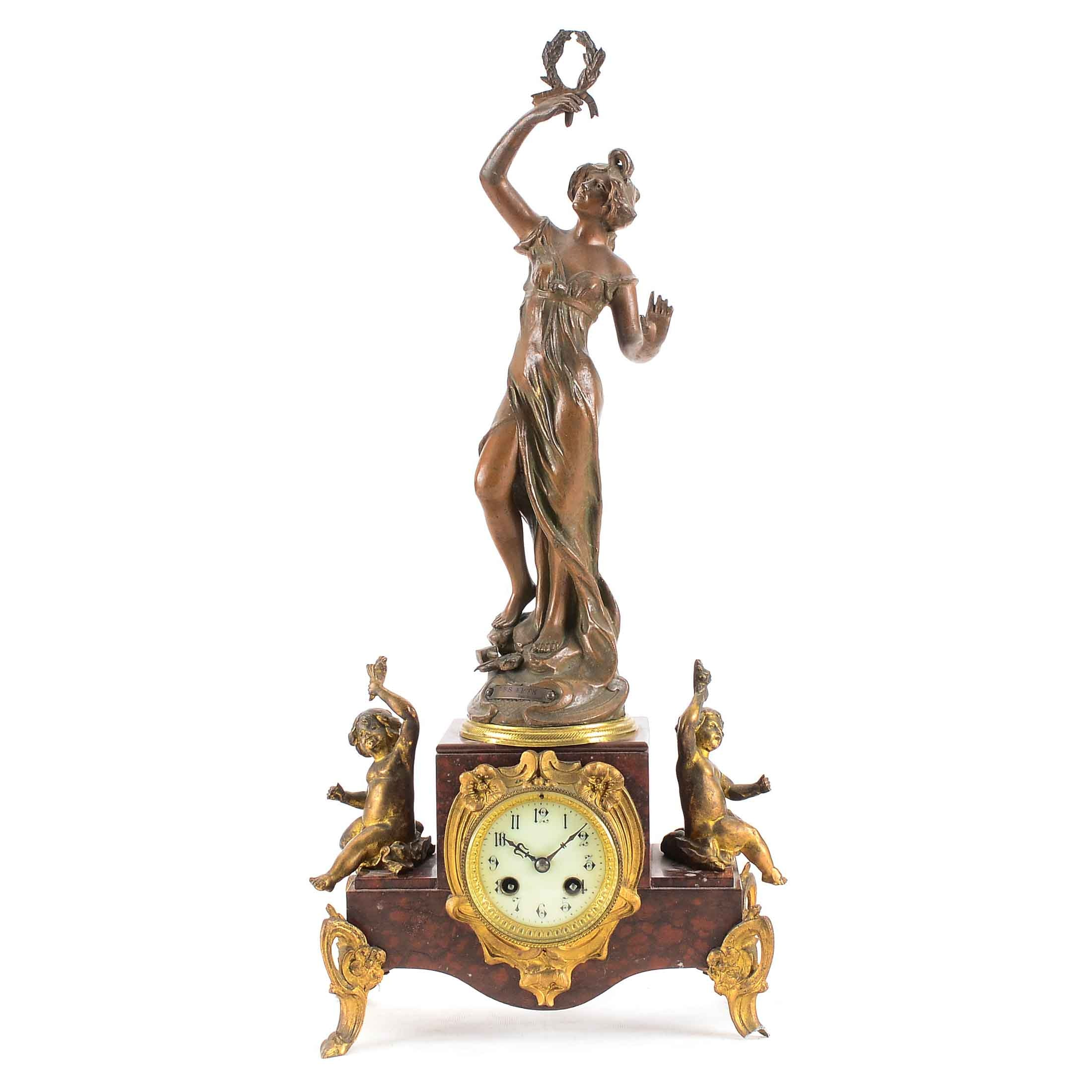 Antique French Sculptural Mantel Clock
