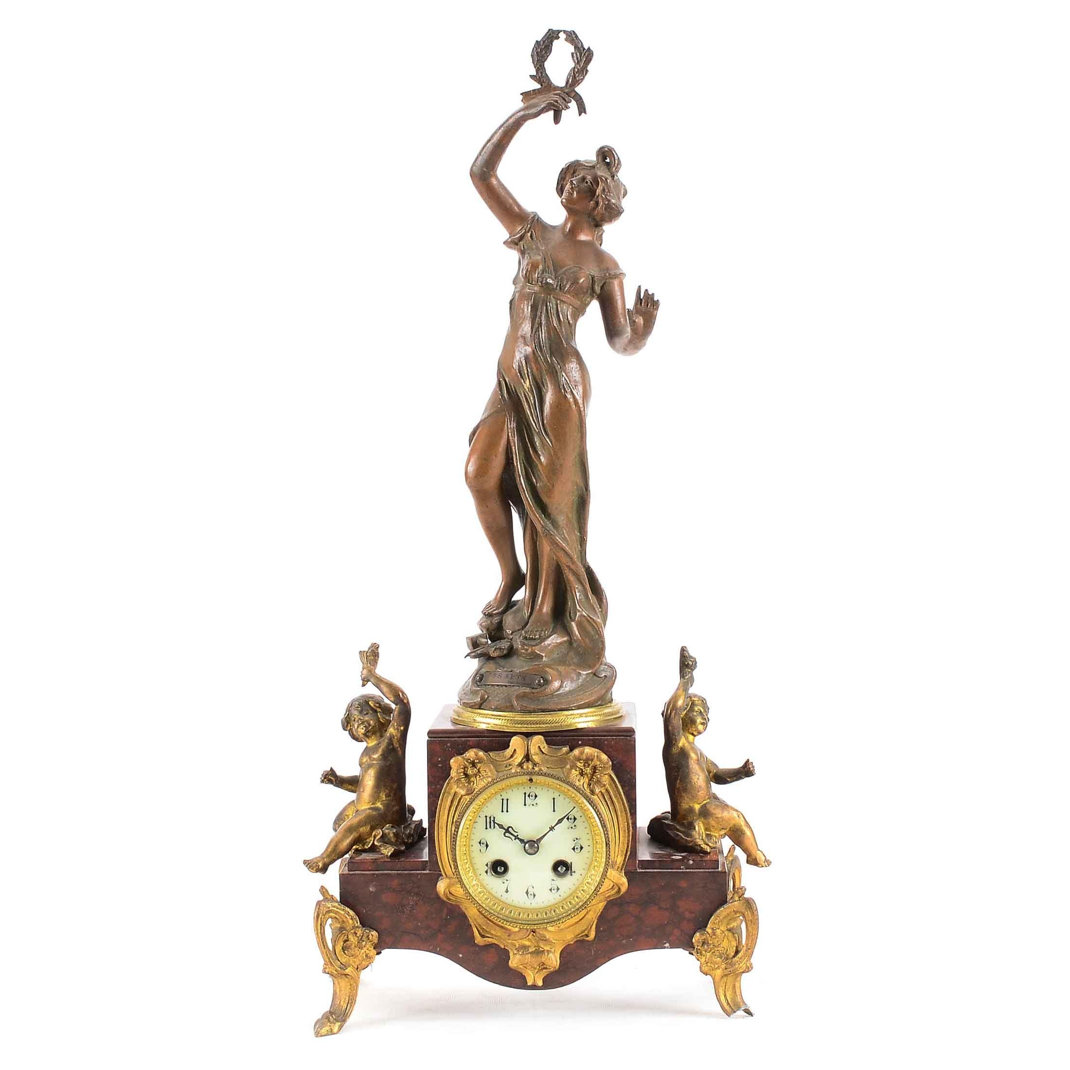 Antique French Sculptural Mantel Clock