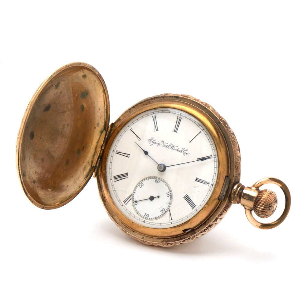 Antique Gold Filled Elgin Pocket Watch with Floral Engraving
