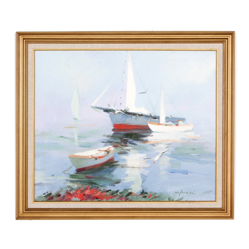 Oil Painting of Boats on a Harbor