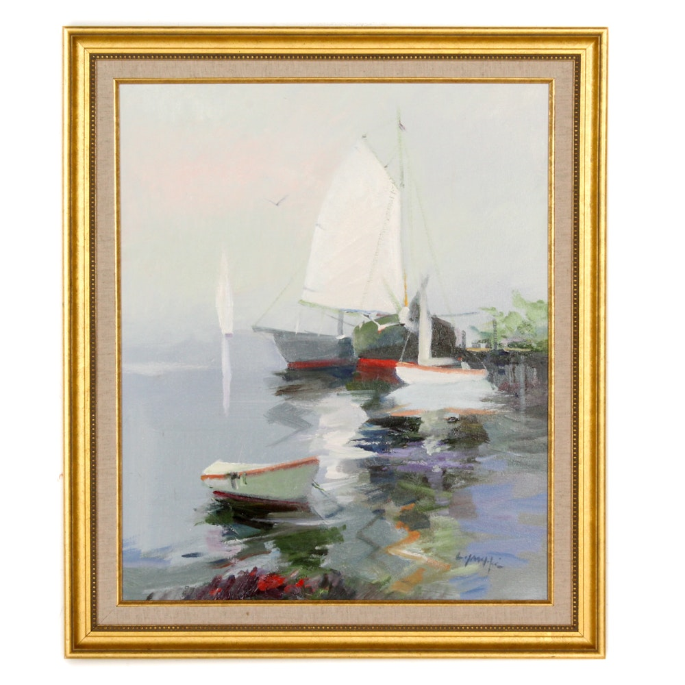 Framed Oil on Canvas of Boats in Harbor