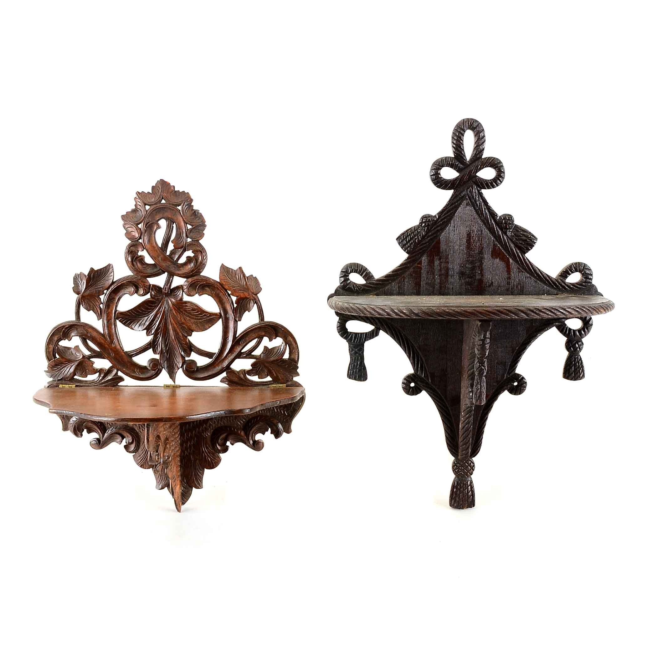 Two Carved Wood Wall Shelves