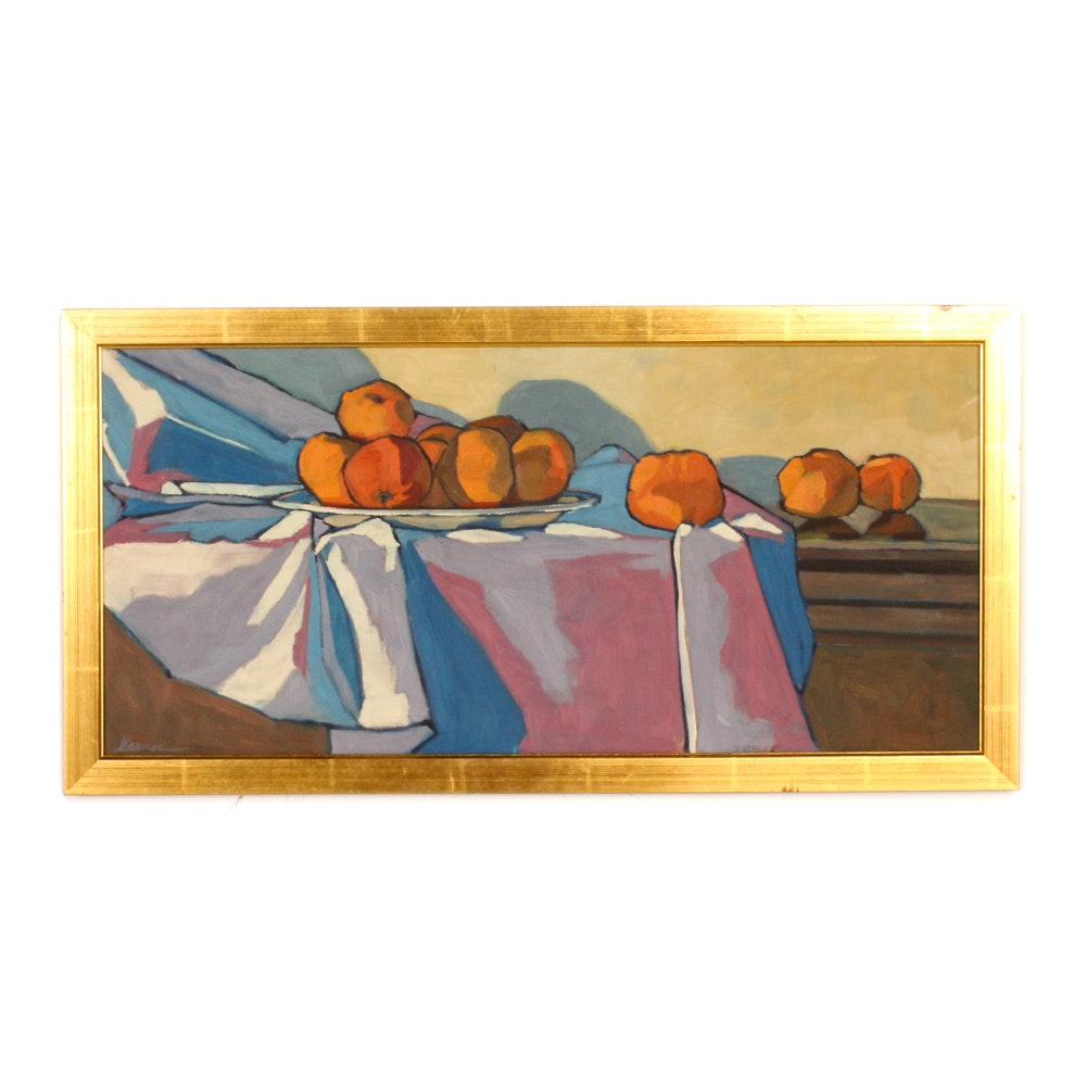 Acrylic on Canvas Still Life of Fruit
