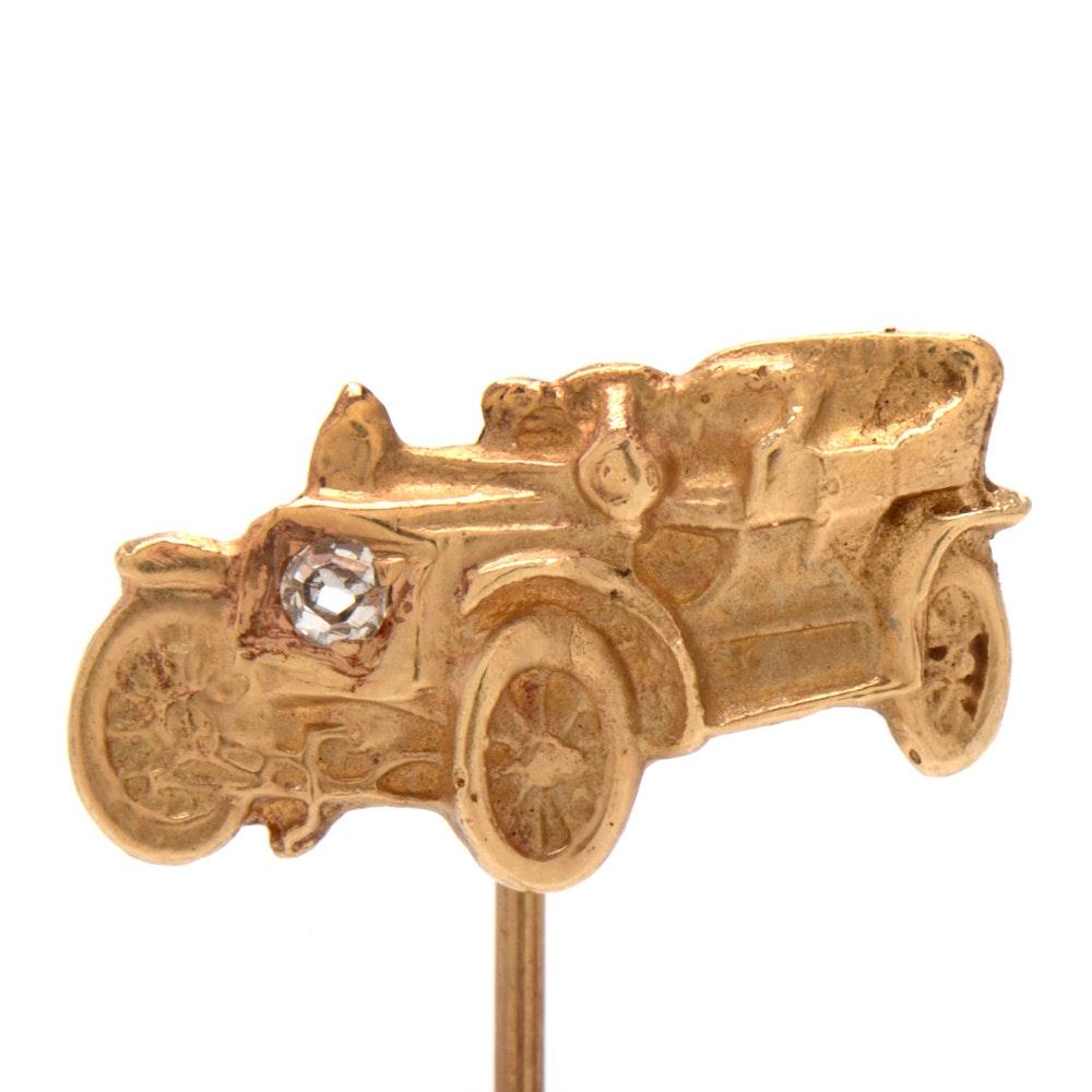 14K Yellow Gold Diamond Model T Car Stick Pin