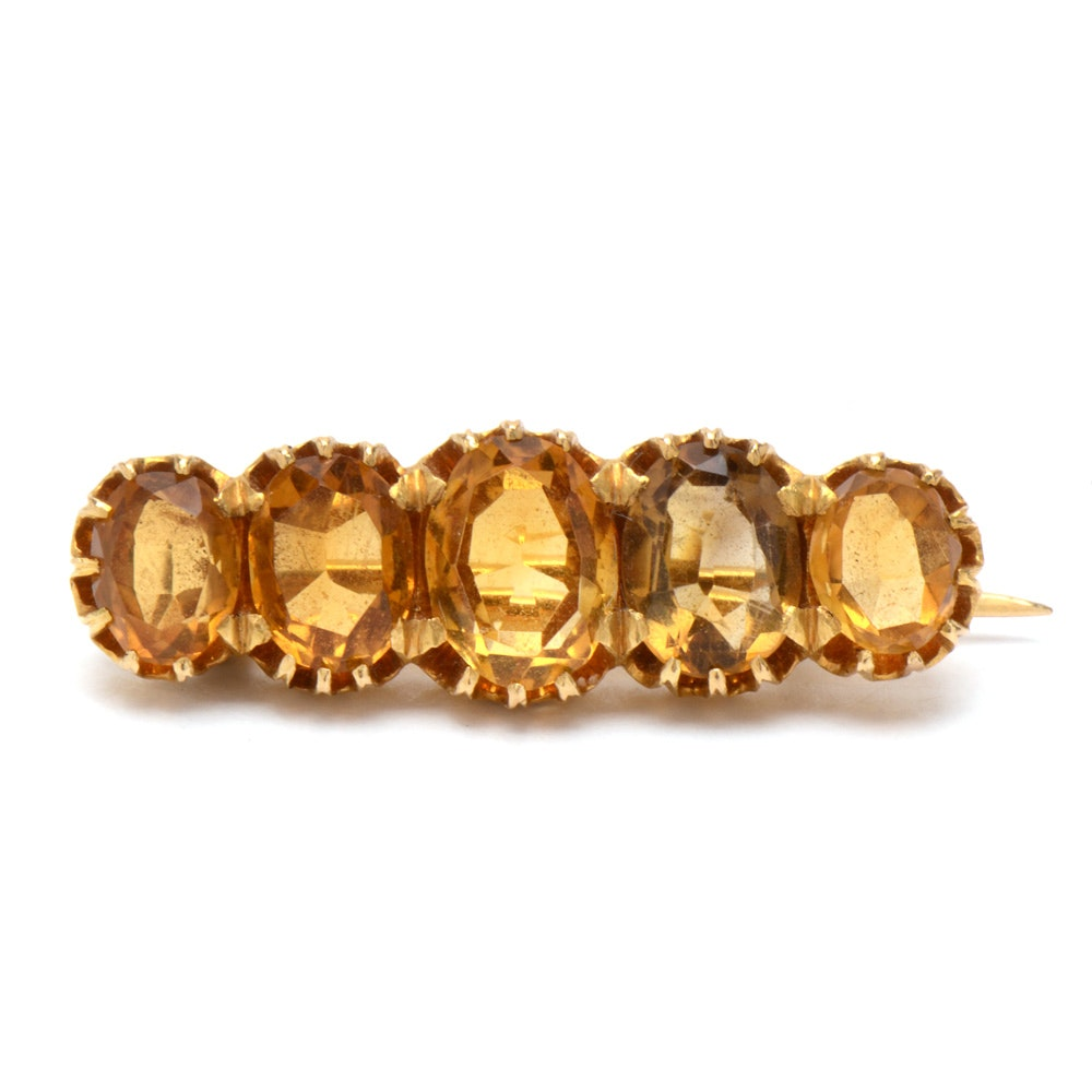 Antique 14K Yellow Gold Citrine Pin