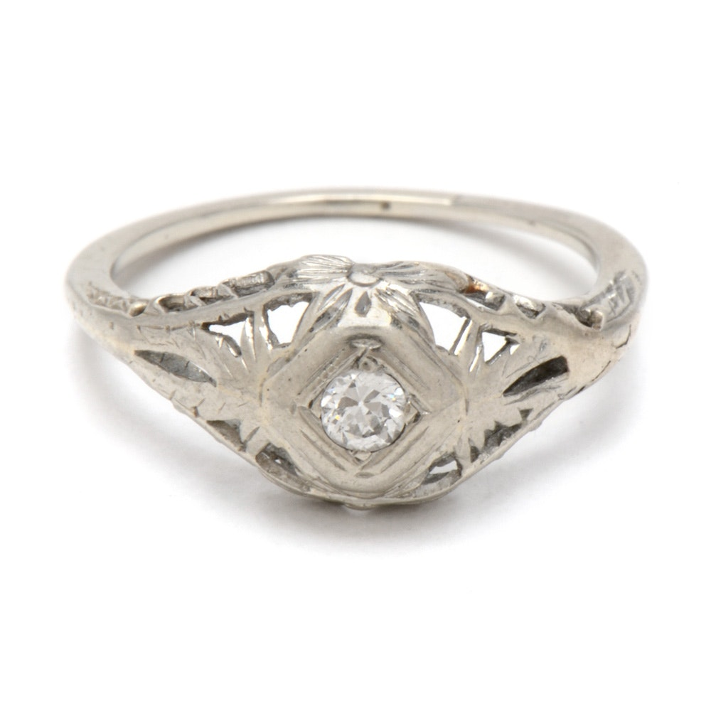 Edwardian Style 18K White Gold Diamond Ring