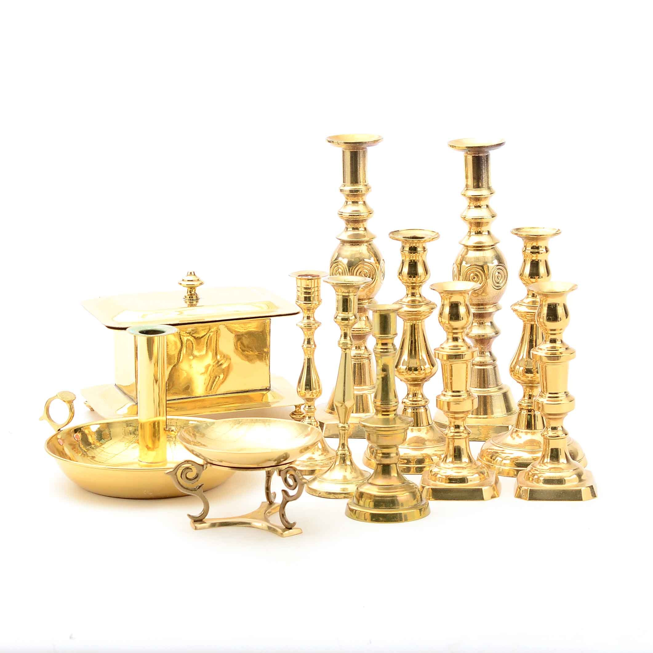 Group of Brass Candlesticks and Decor