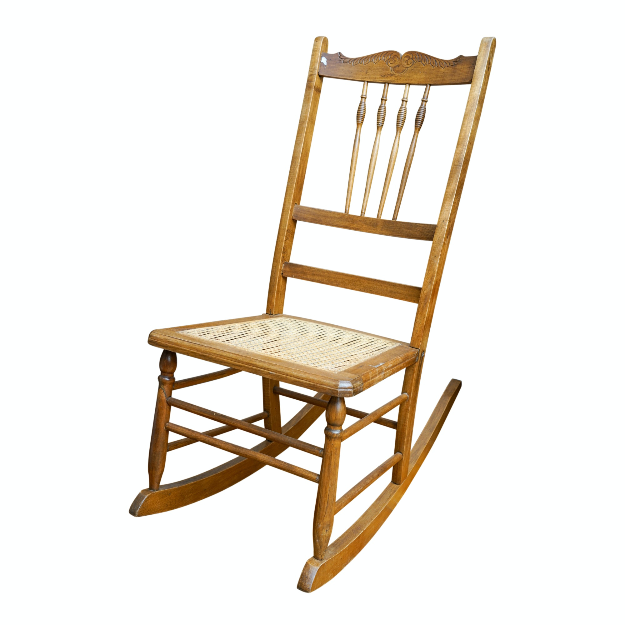 Vintage Caned Seat Rocking Chair