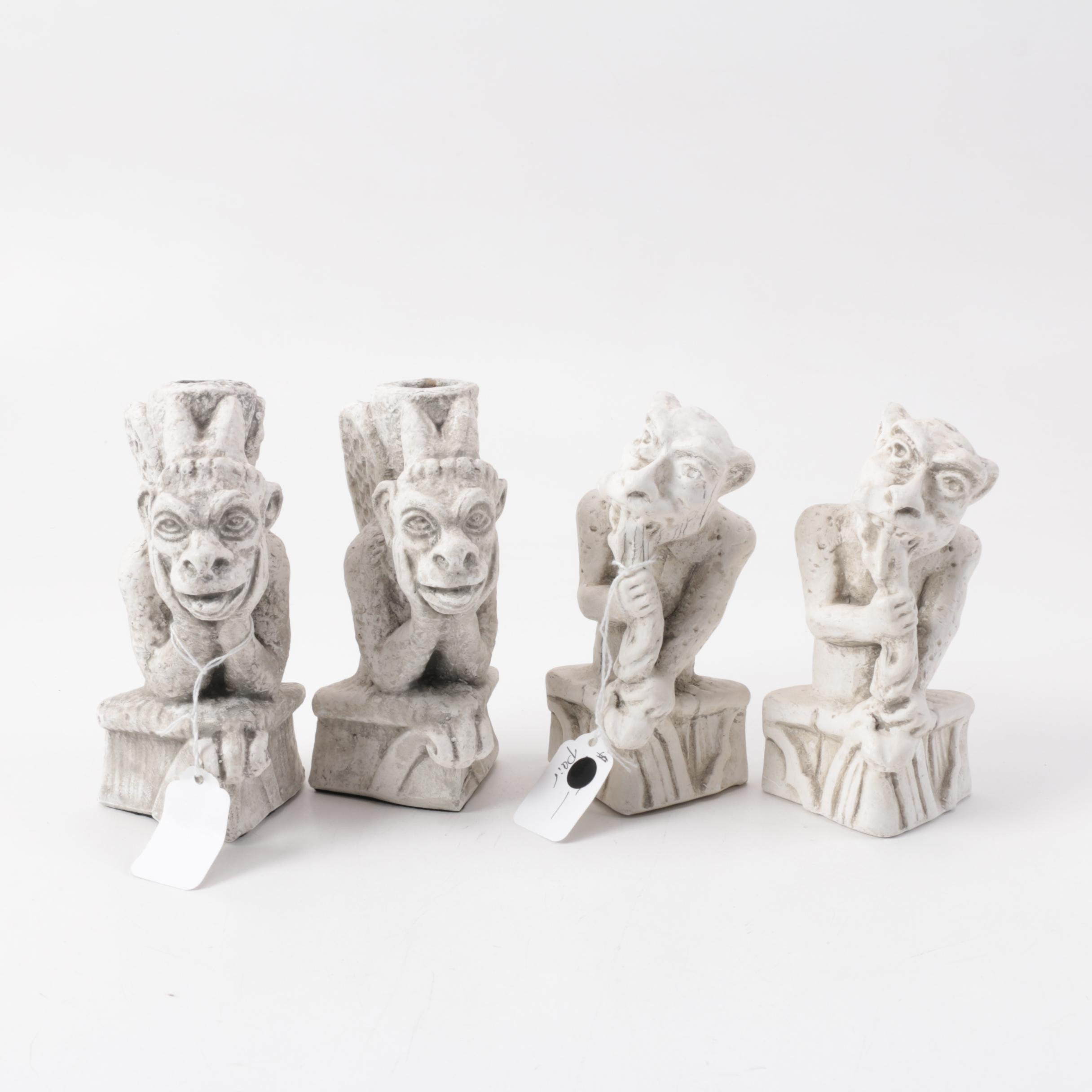 Reproduction Notre Dame Gargoyle Figurines and Candle Holders