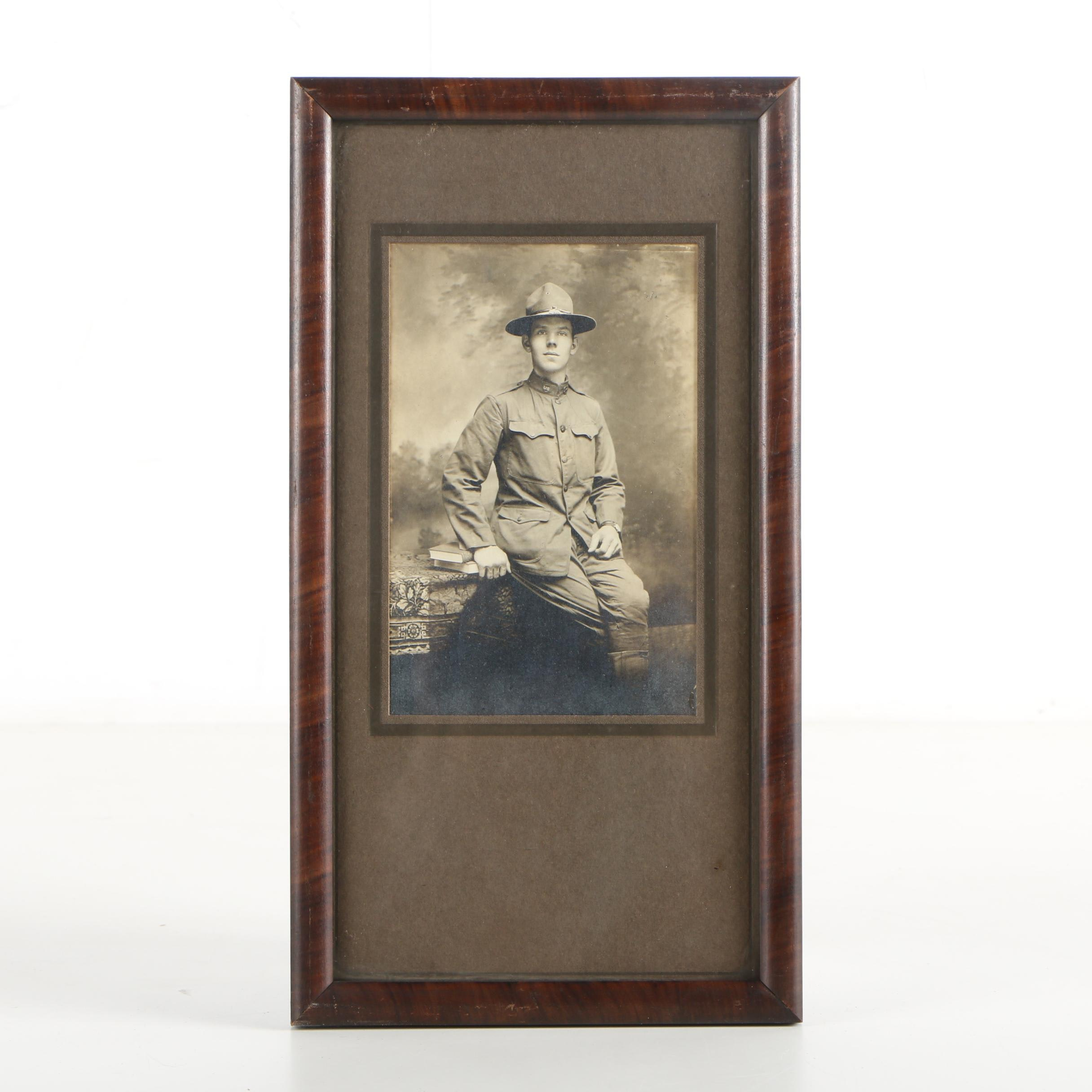 Early 20th Century Gelatin-Silver Portrait of Soldier