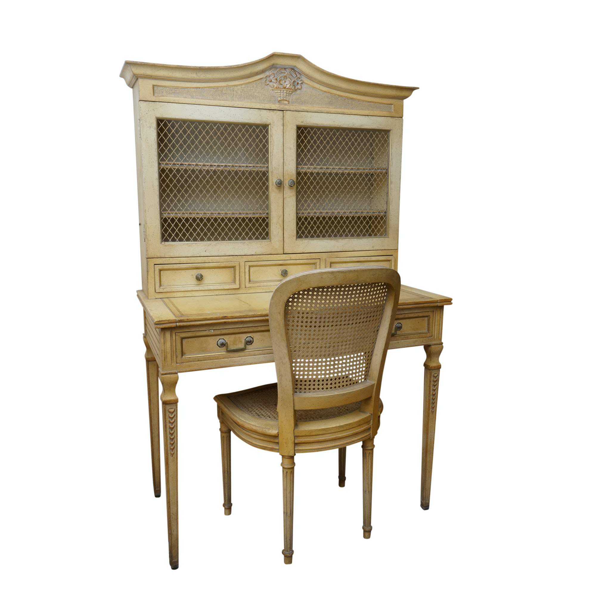 French Regency Style Secretary with Caned Chair