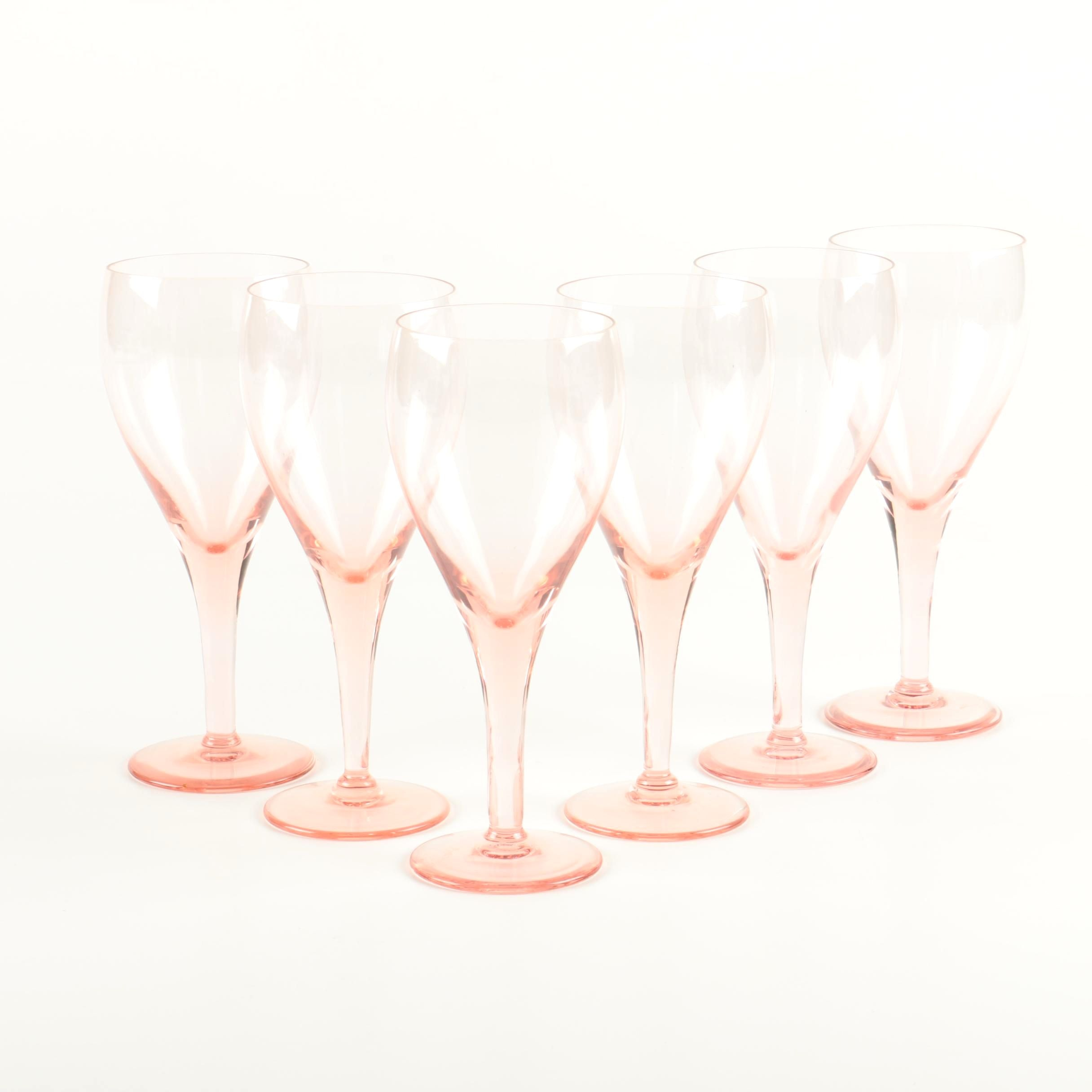 Collection of Pink Glass Stemware