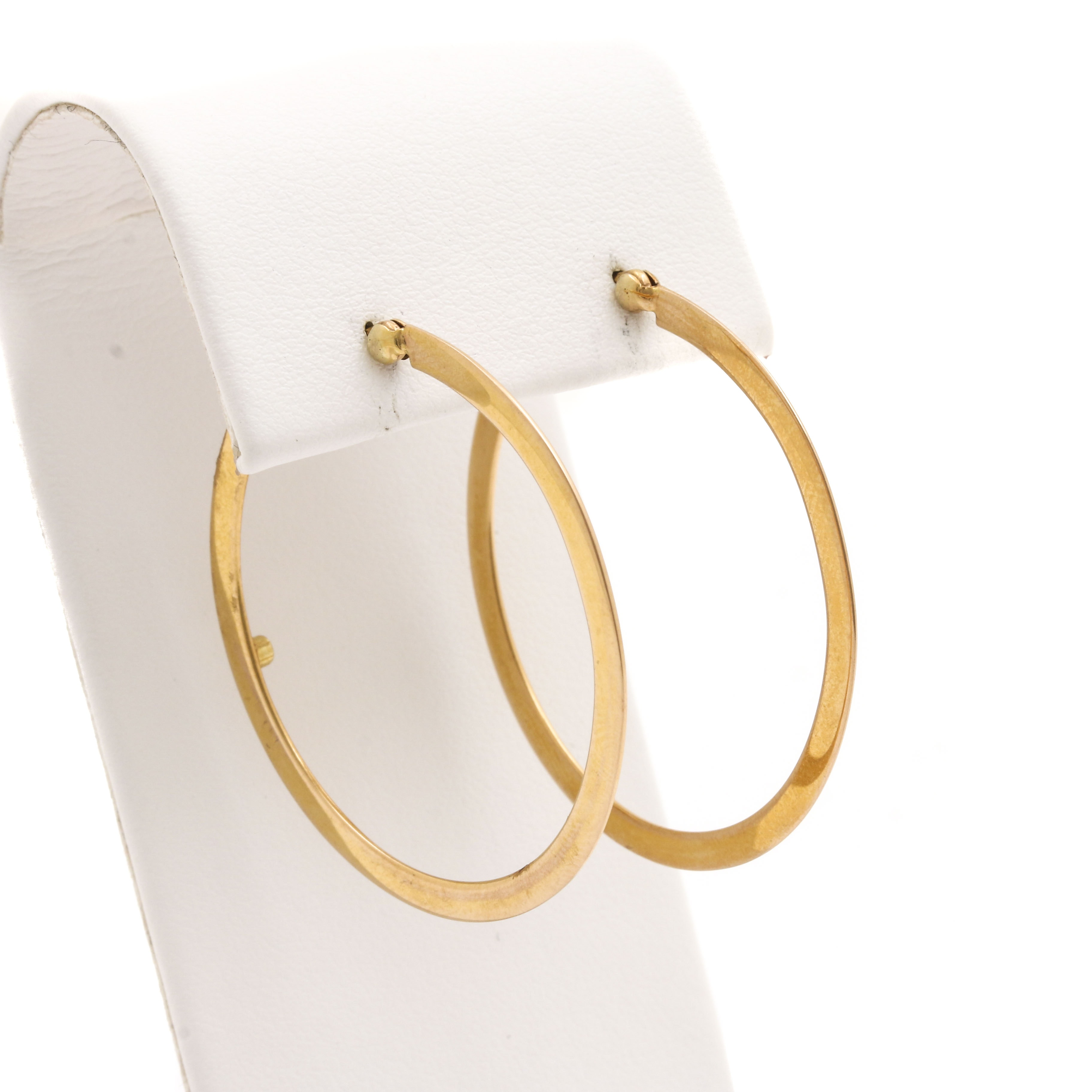 18K Yellow Gold Round Hoop Earrings with Ruby Accent