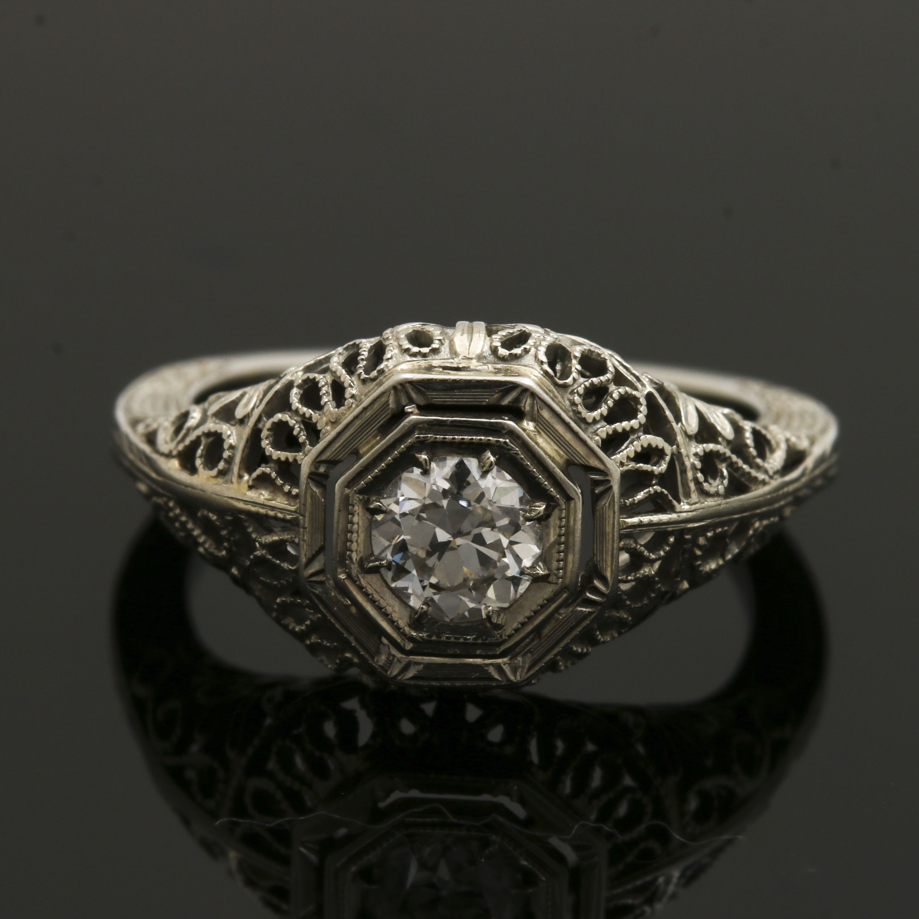 Early Art Deco 18K White Gold Transitional Cut Diamond Engagement Ring