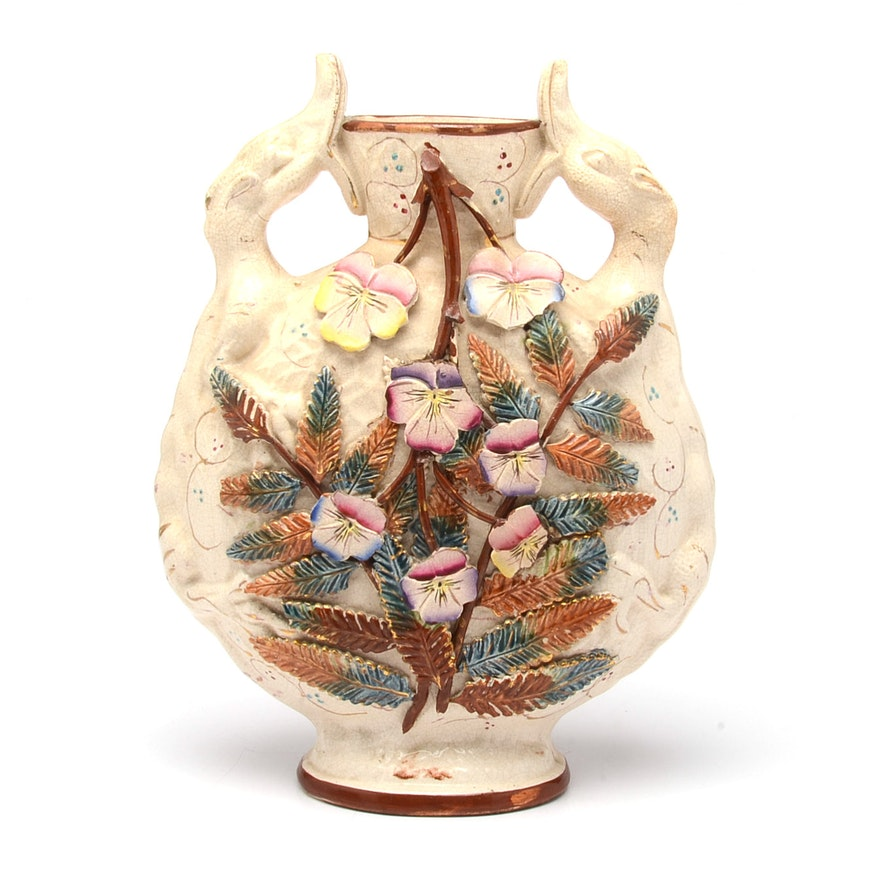 Vintage English Floral Vase Ebth