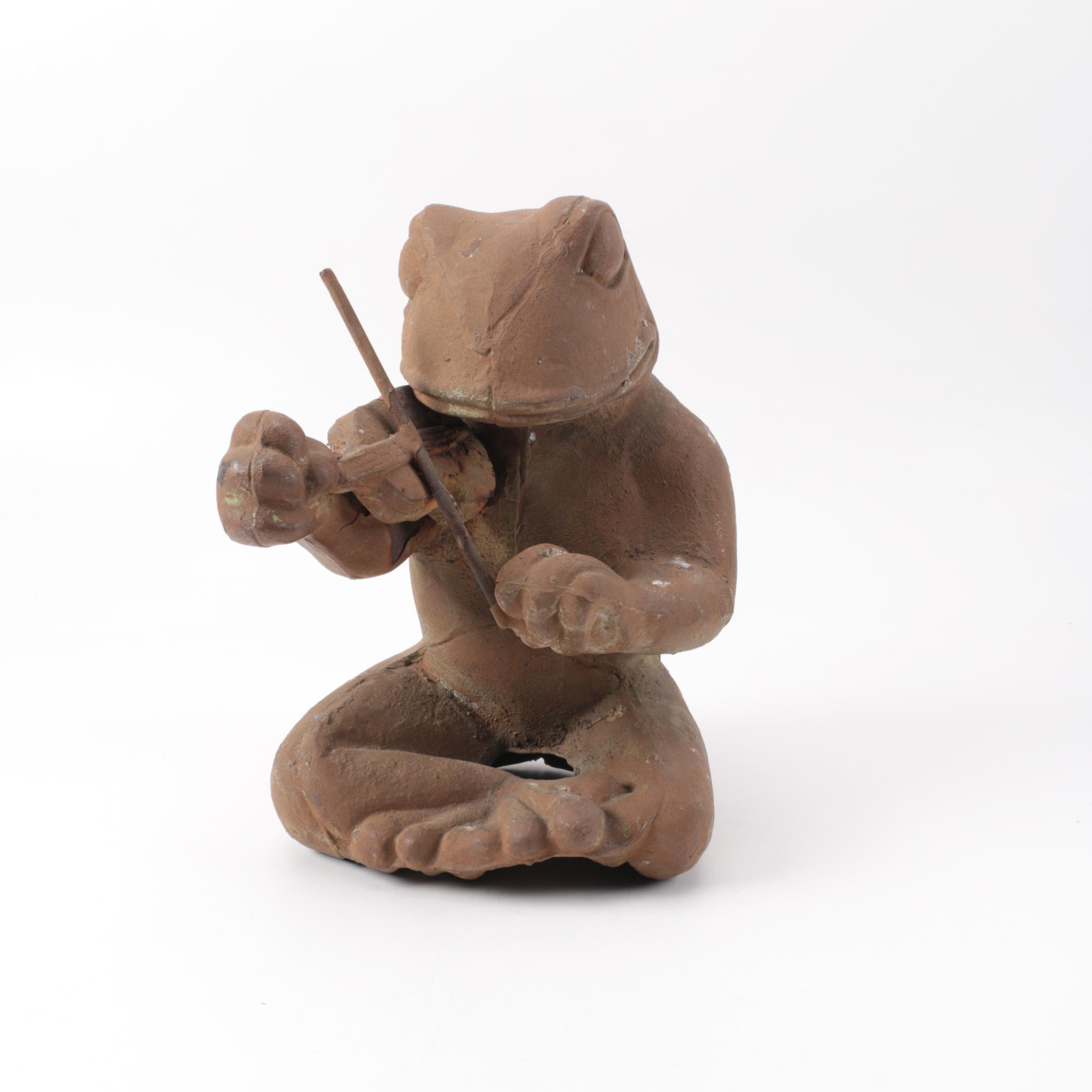 Cast Iron Violin Playing Frog Garden Statue ...