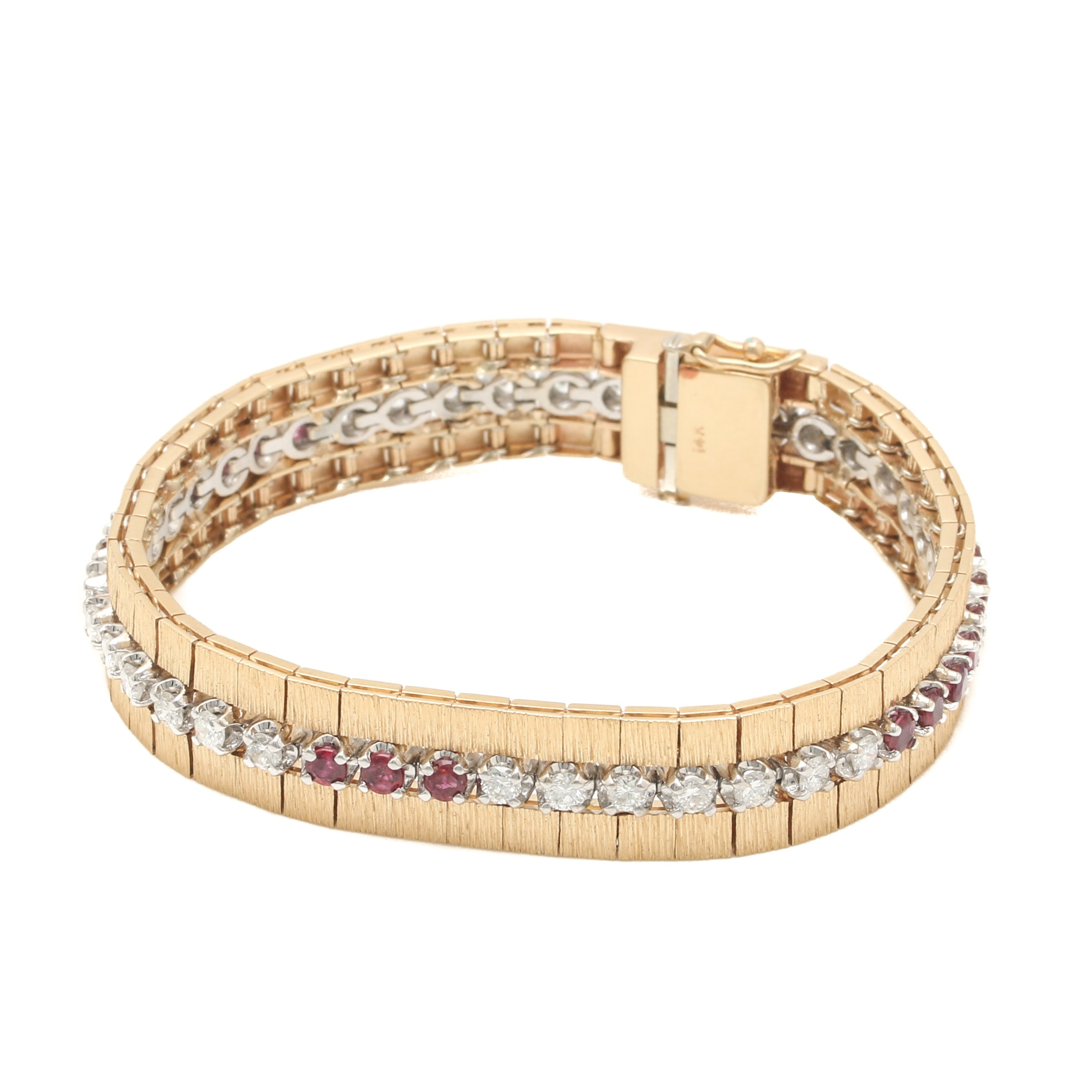 14K Yellow Gold 1.85 CTW Diamond and Ruby Linked Bracelet