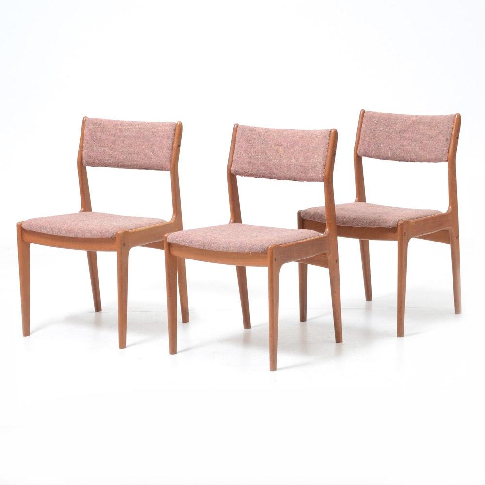 Mid Century Modern Upholstered Teak Chairs