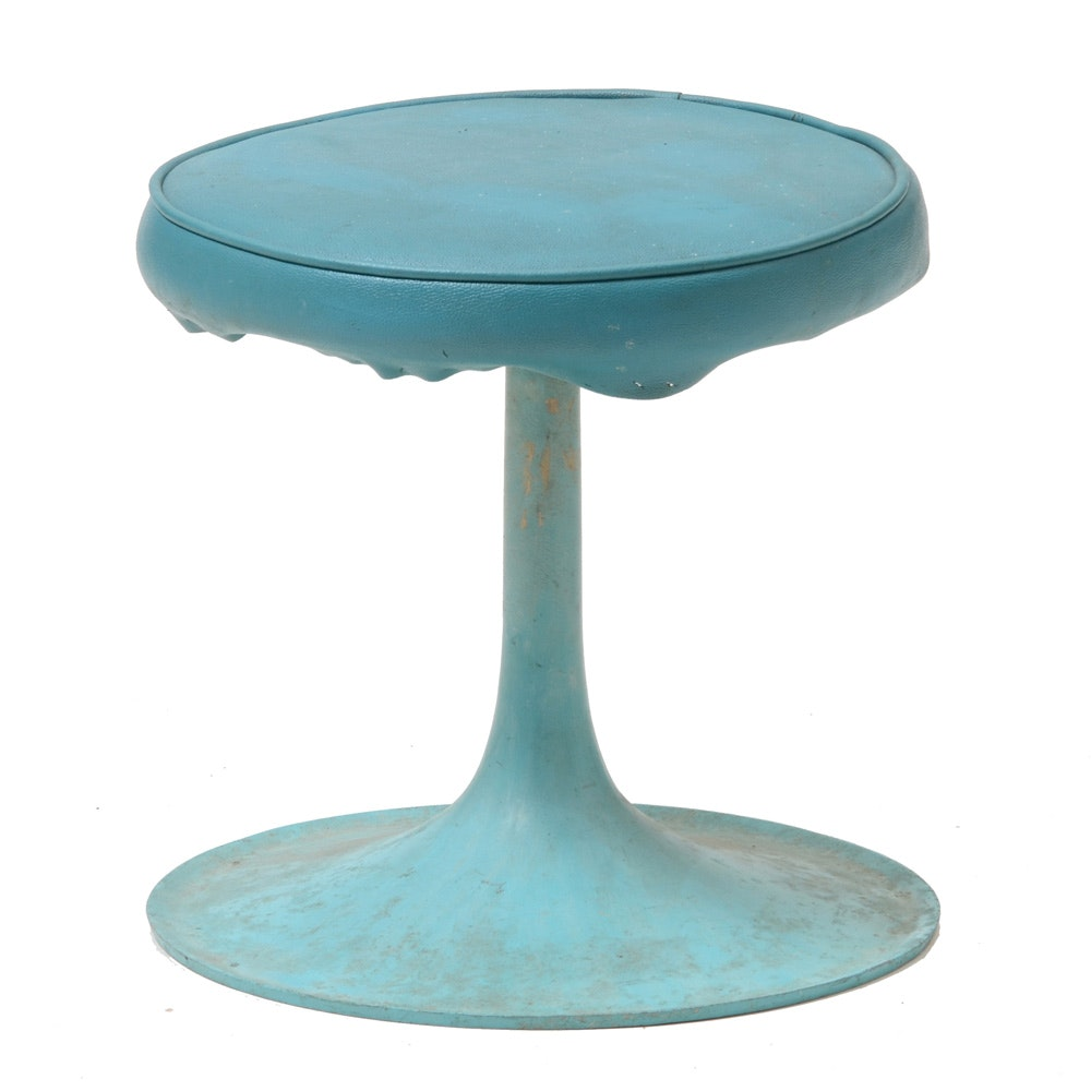 Mid Century Modern Turquoise Tulip Stool by Thinline