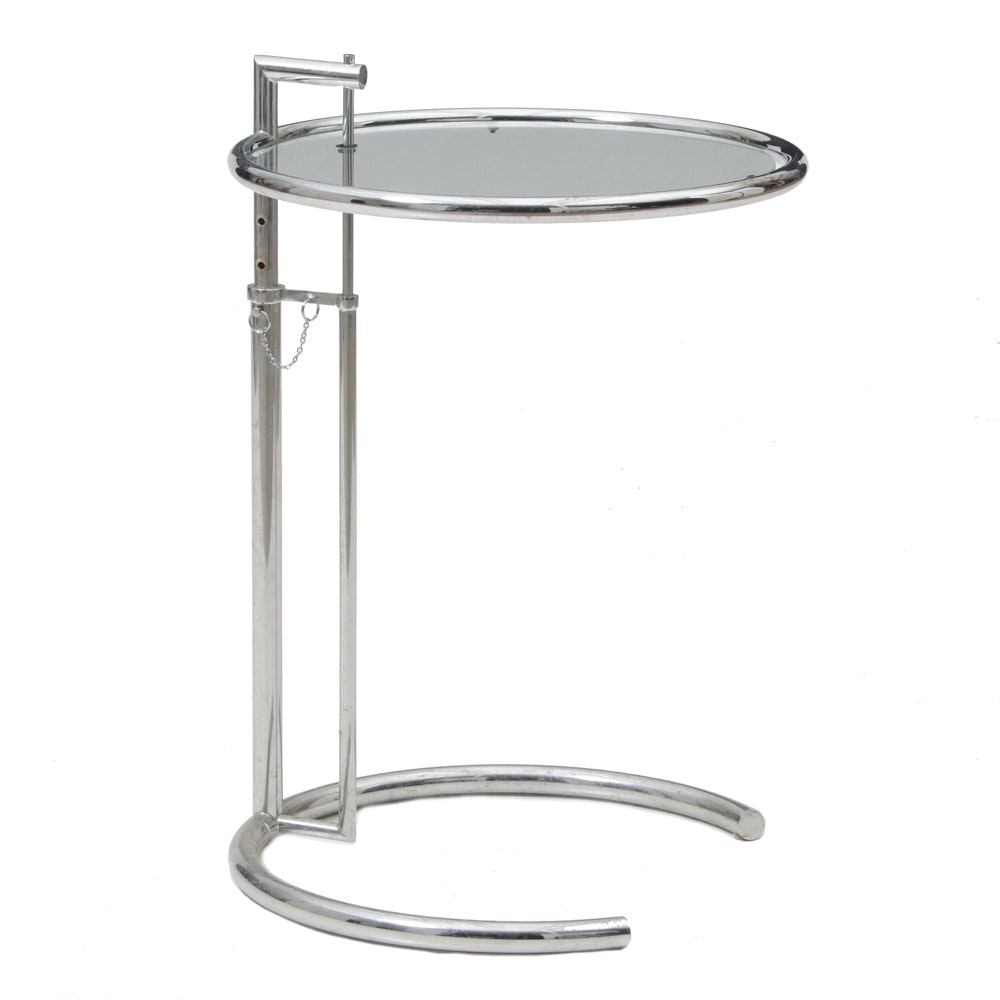 Modern Chrome Accent Table, After Eileen Gray