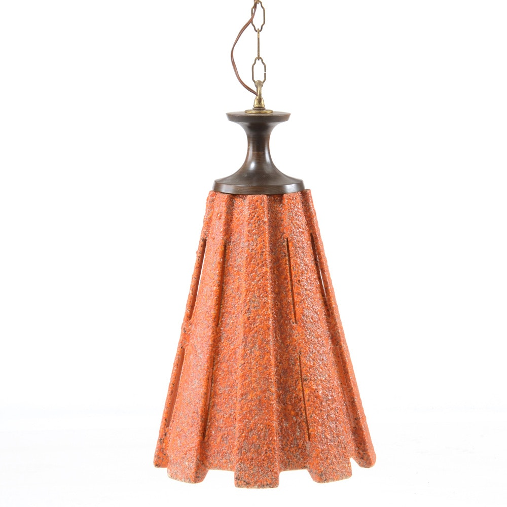 Mid Century Modern Orange Ceramic Pendant Light