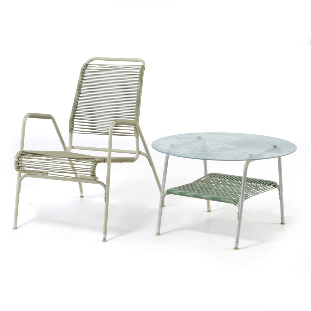 Vintage Mid Century Modern Aimes Aire Style Patio Table and Chair