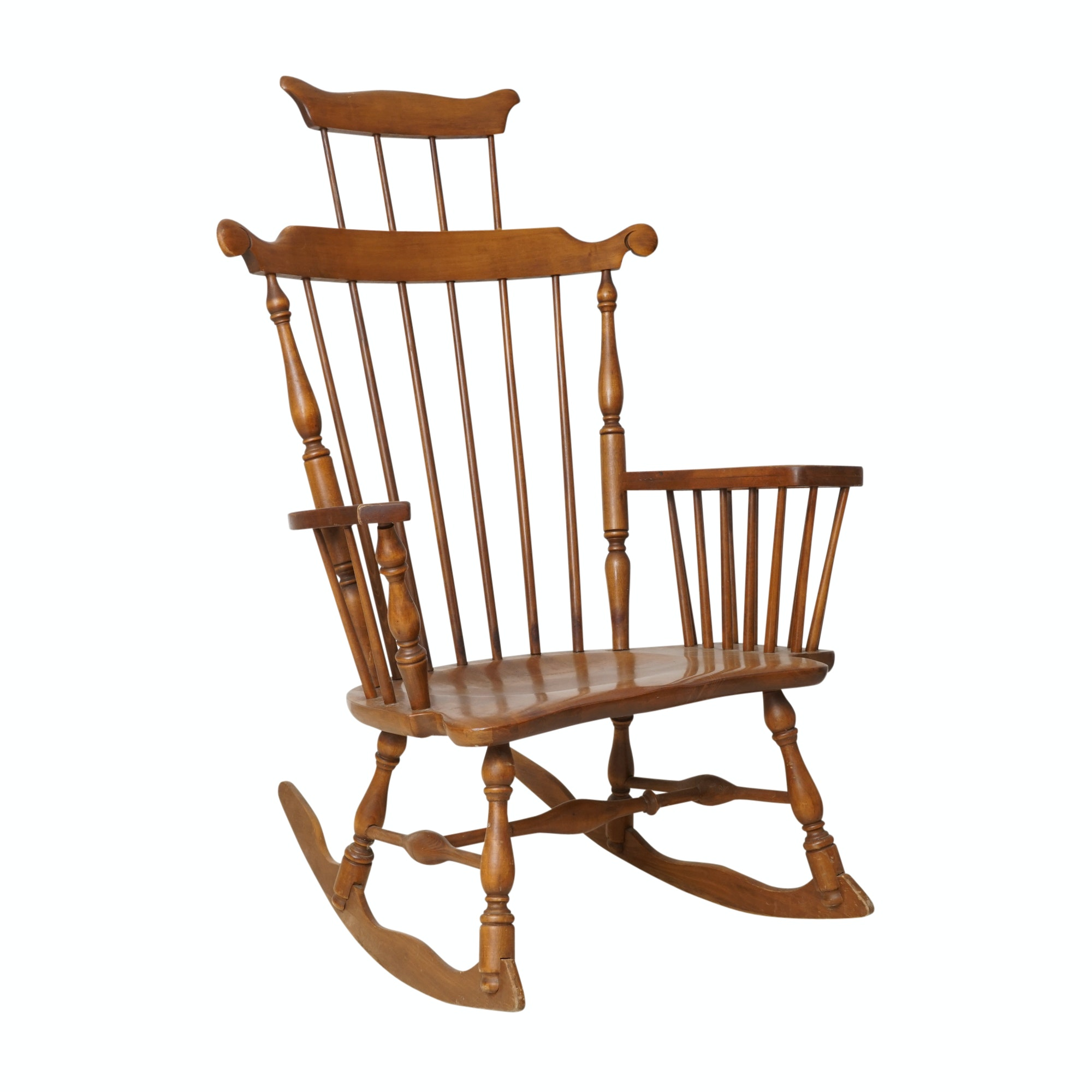Maple Comb-Back Windsor Rocking Chair with Storage