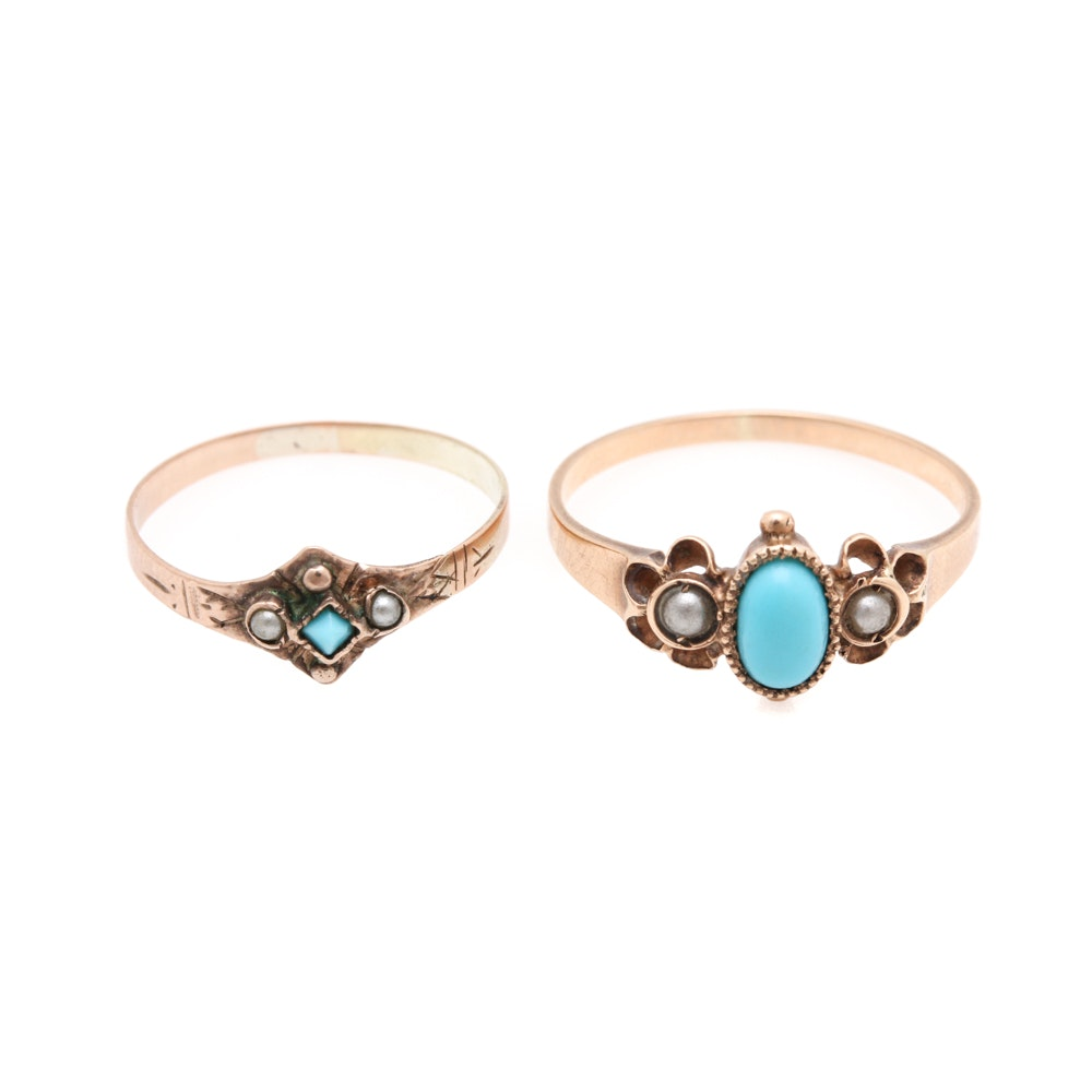 Victorian 10K Yellow Gold Seed Pearl and Turquoise Rings