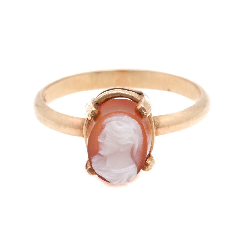 14K Yellow Gold Sardonyx Cameo Ring