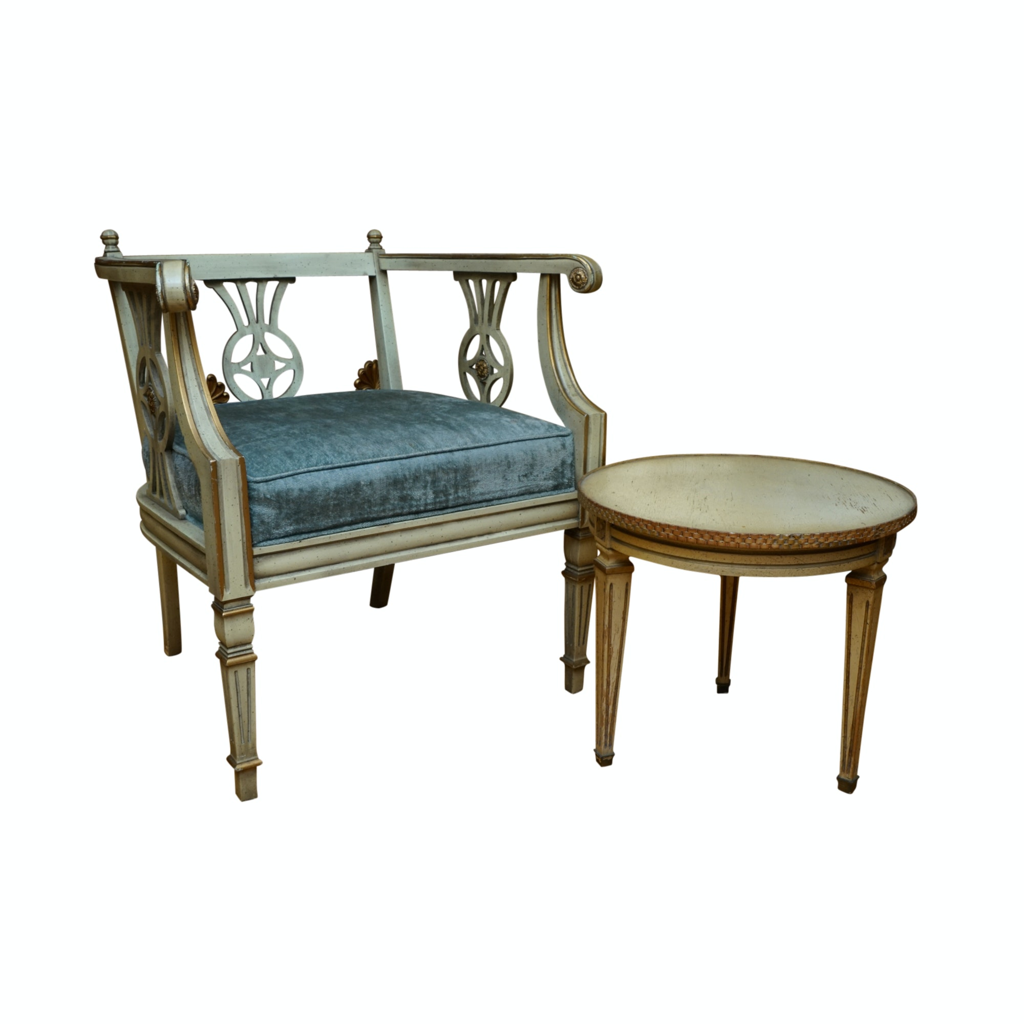 French Directoire Style Arm Chair and Side Table