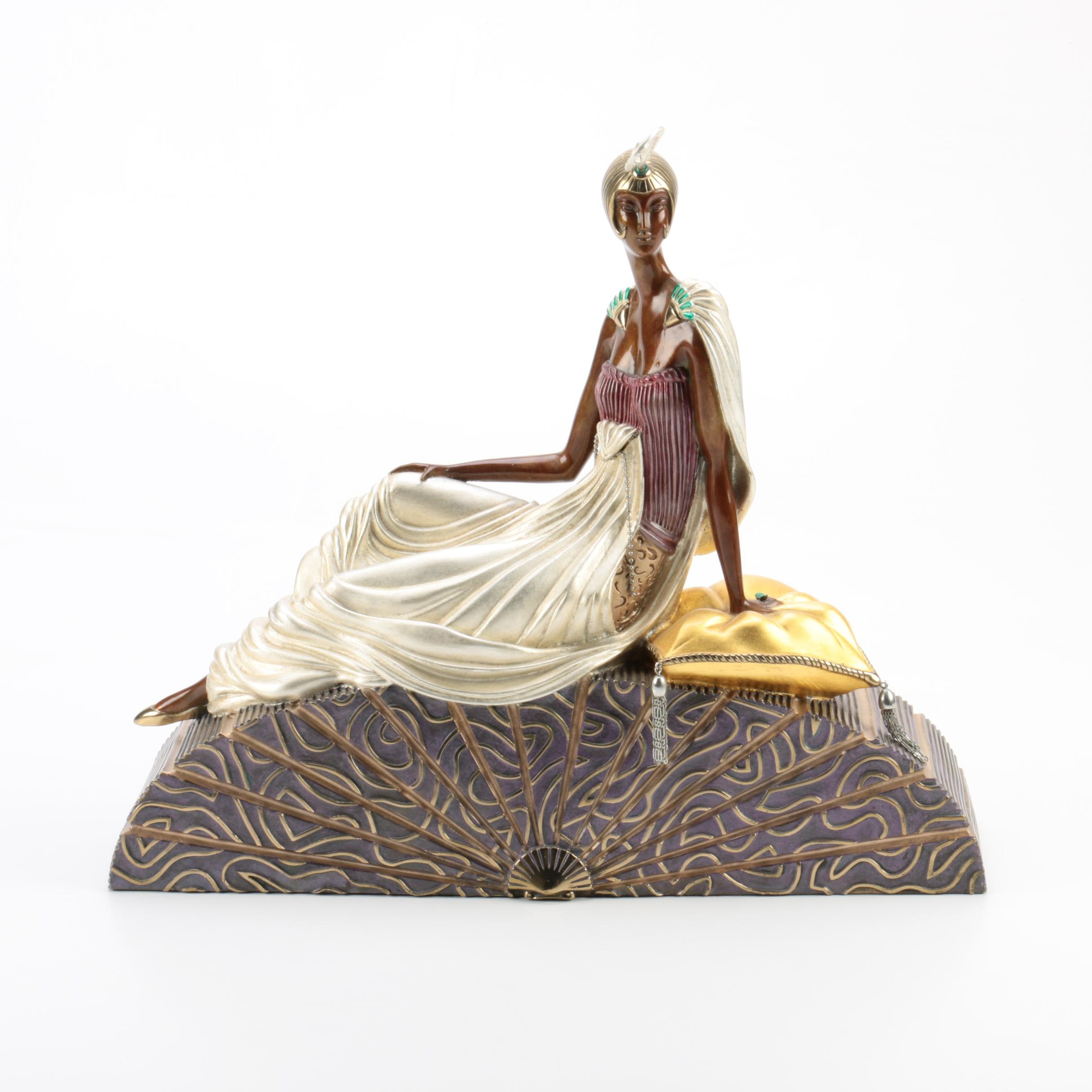 "Erté Patinated-Bronze Sculpture ""King's Favorite"""