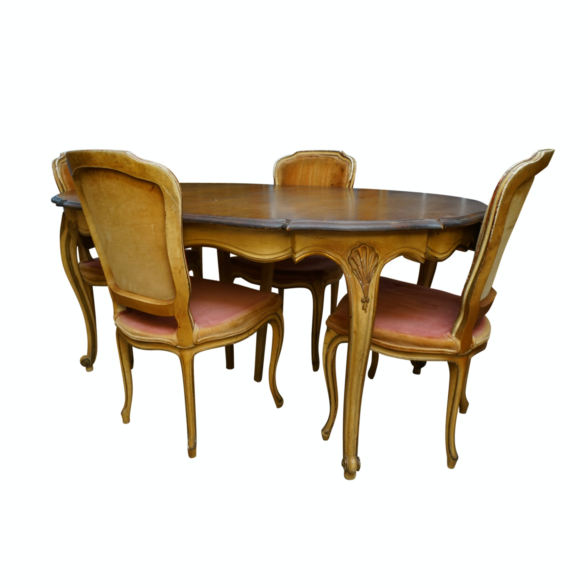 Vintage French Provincial Style Dining Table with Side Chairs