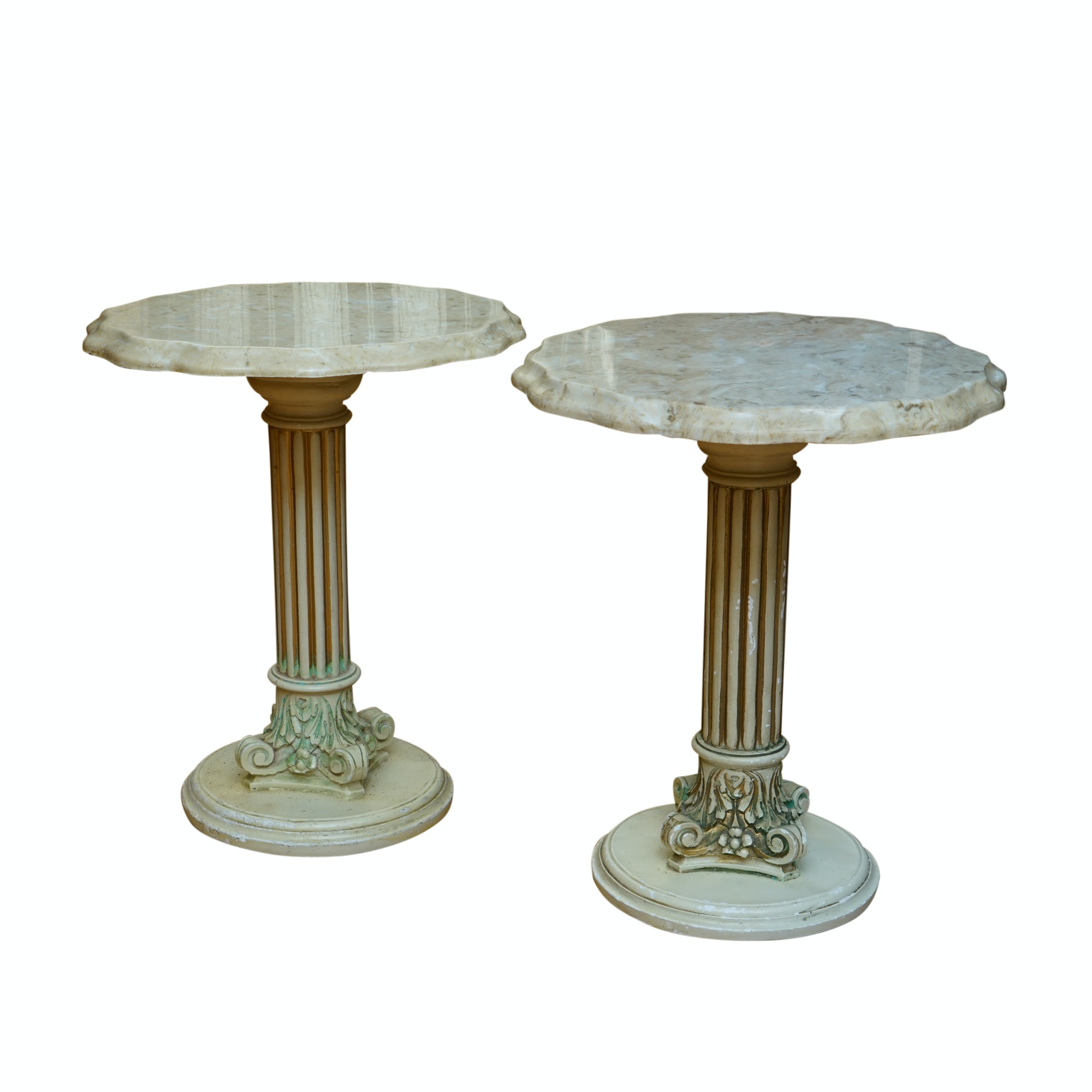 Pair of Marble Top Columnar Side Tables