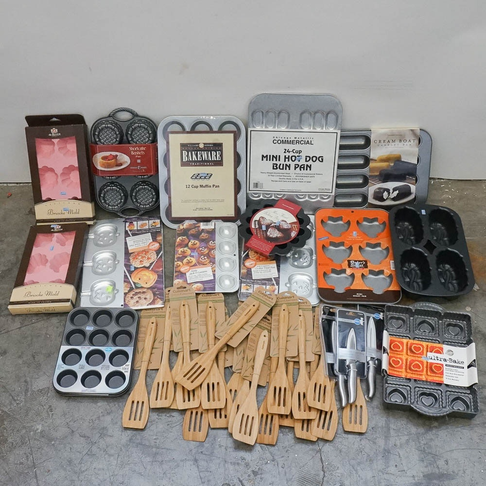 Assorted Kitchen Utensils and Baking Pans