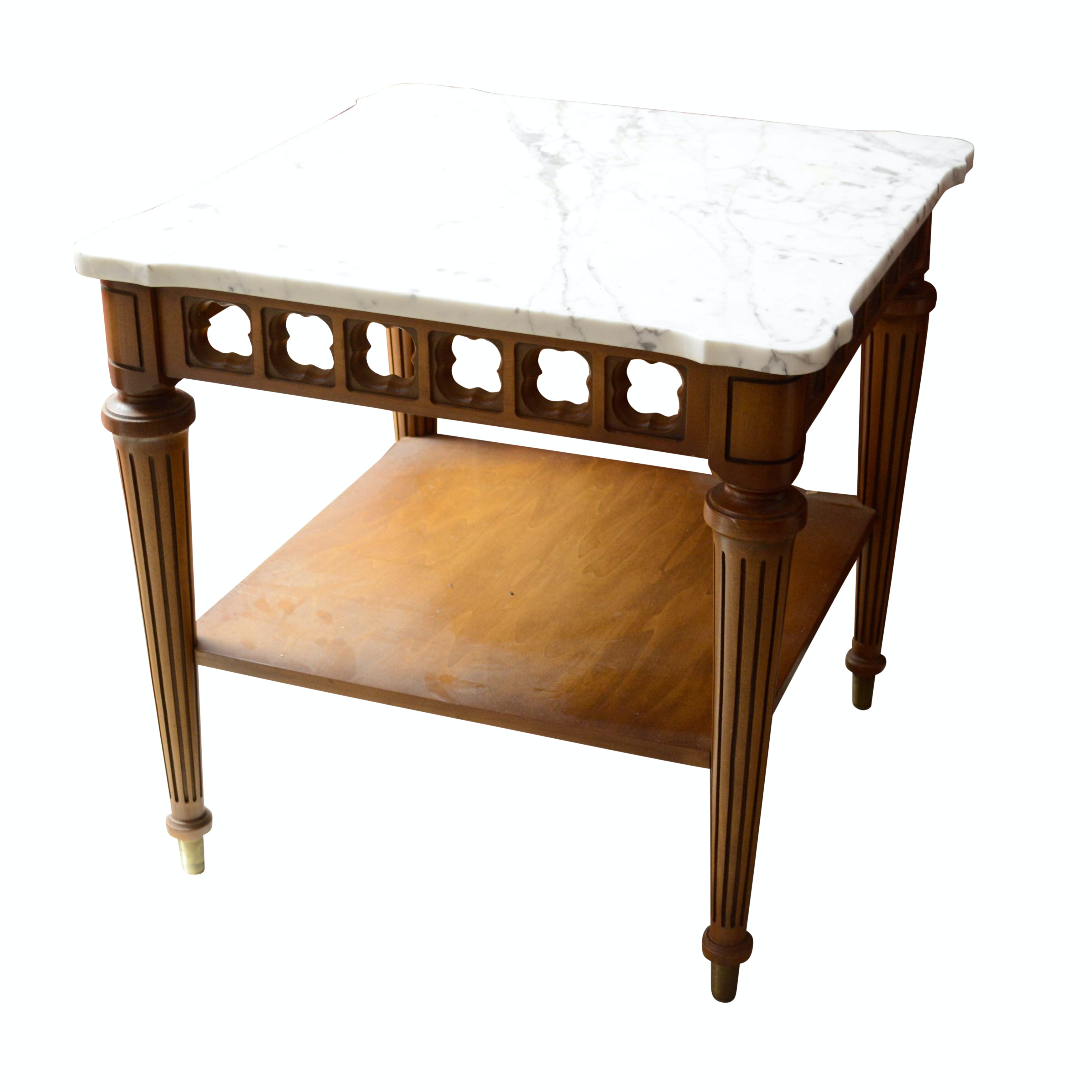 Vintage Neoclassical Style Walnut and Marble Top End Table