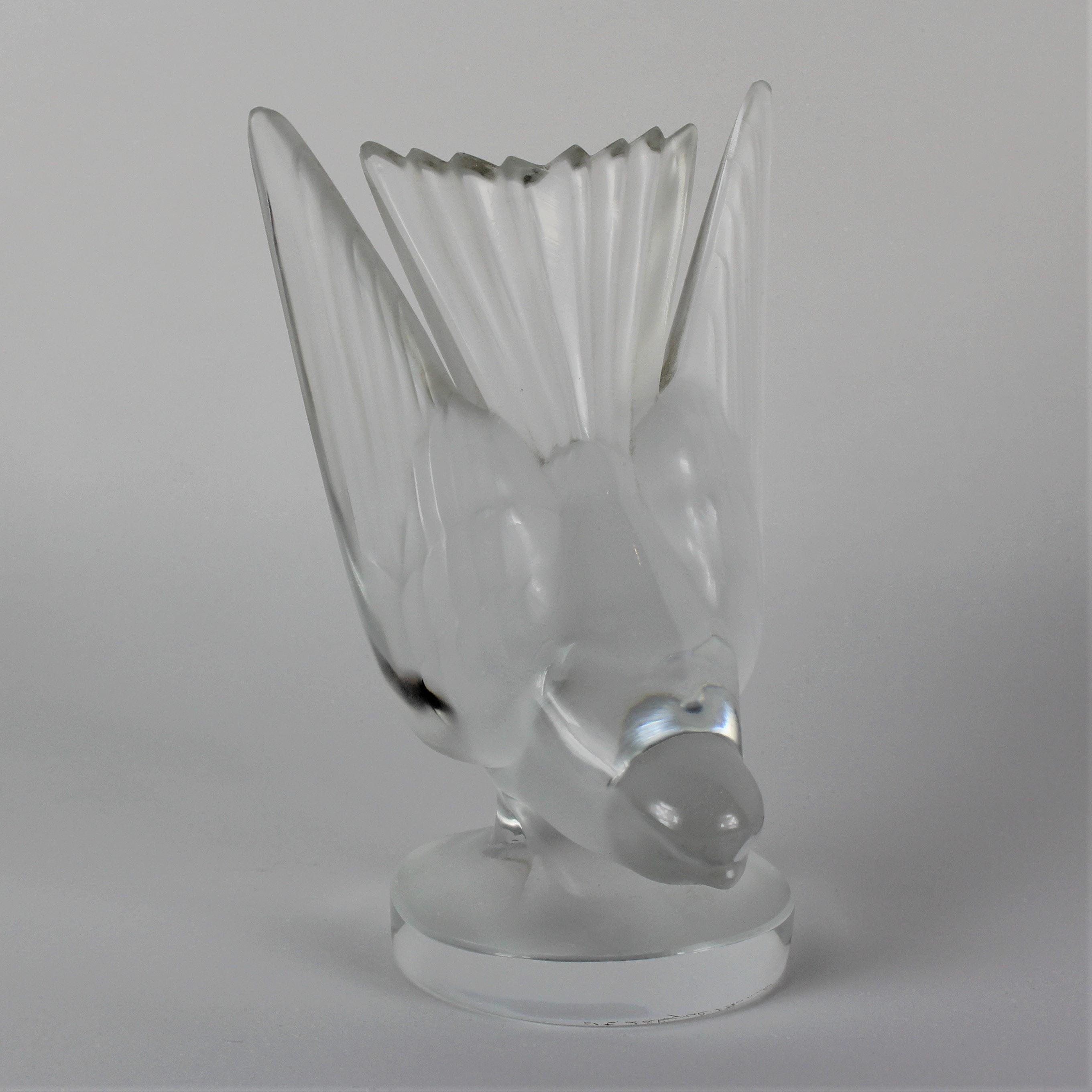 """Lalique Crystal """"Swallow"""" Car Mascot"""