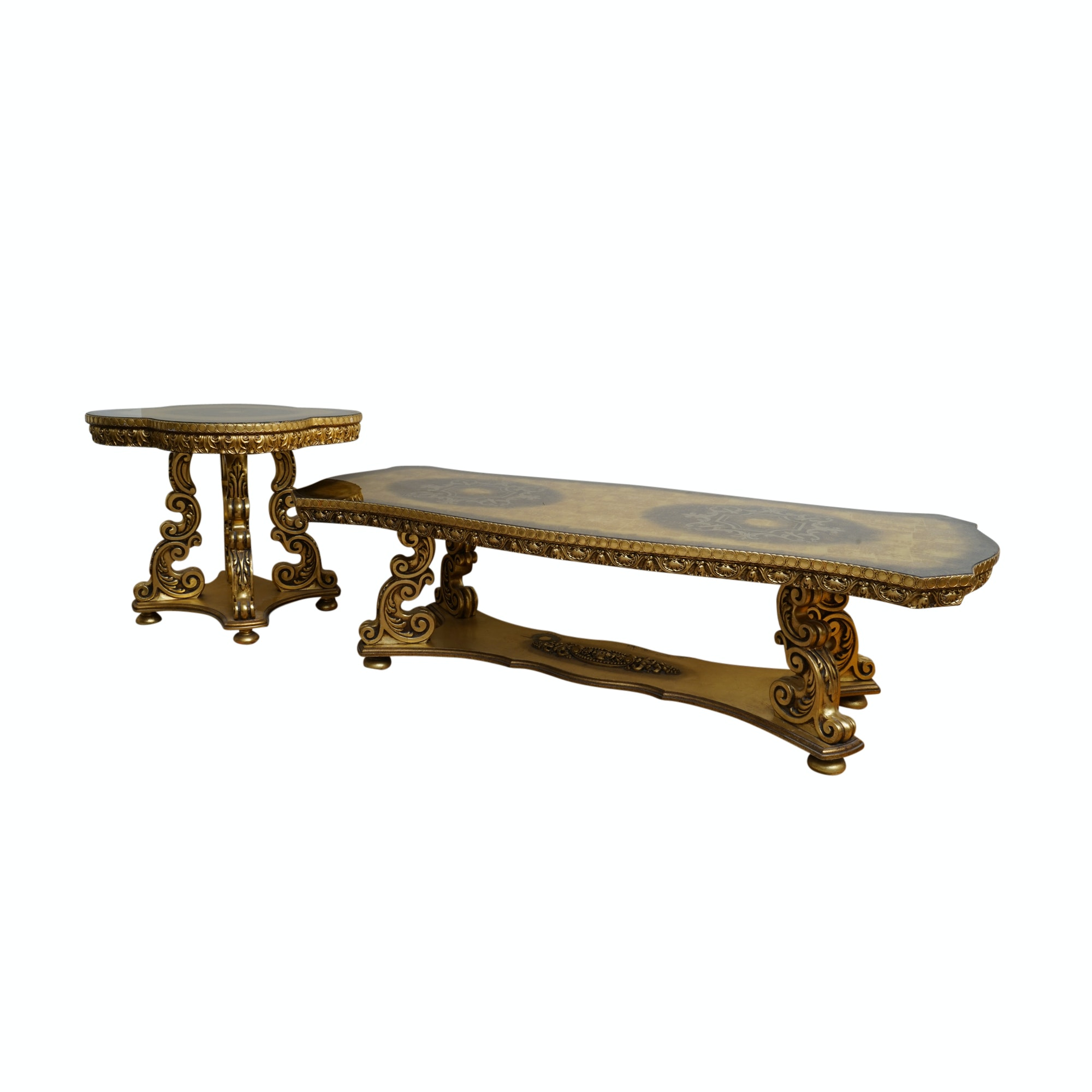 Italian Style Gold Tone Side Table and Coffee Table