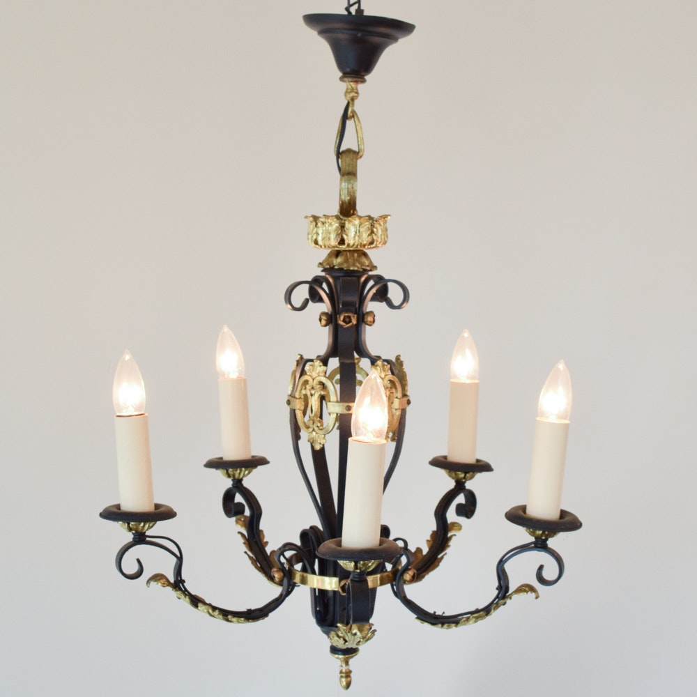 Wrought Iron Chandelier with Brass Accents