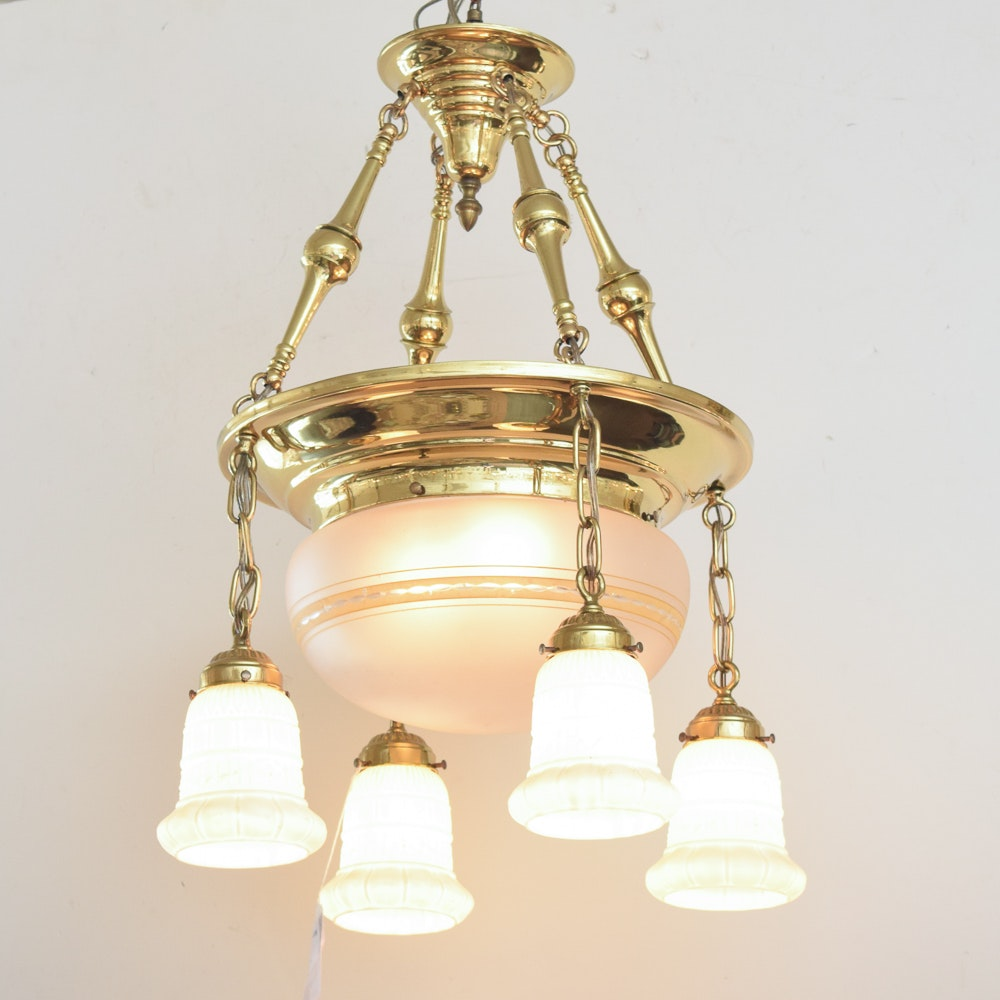 Antique Ceiling Lamp with Pendant Shades