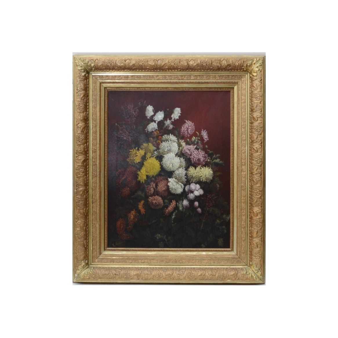 Antique E. Robinson Still Life Oil Painting on Canvas